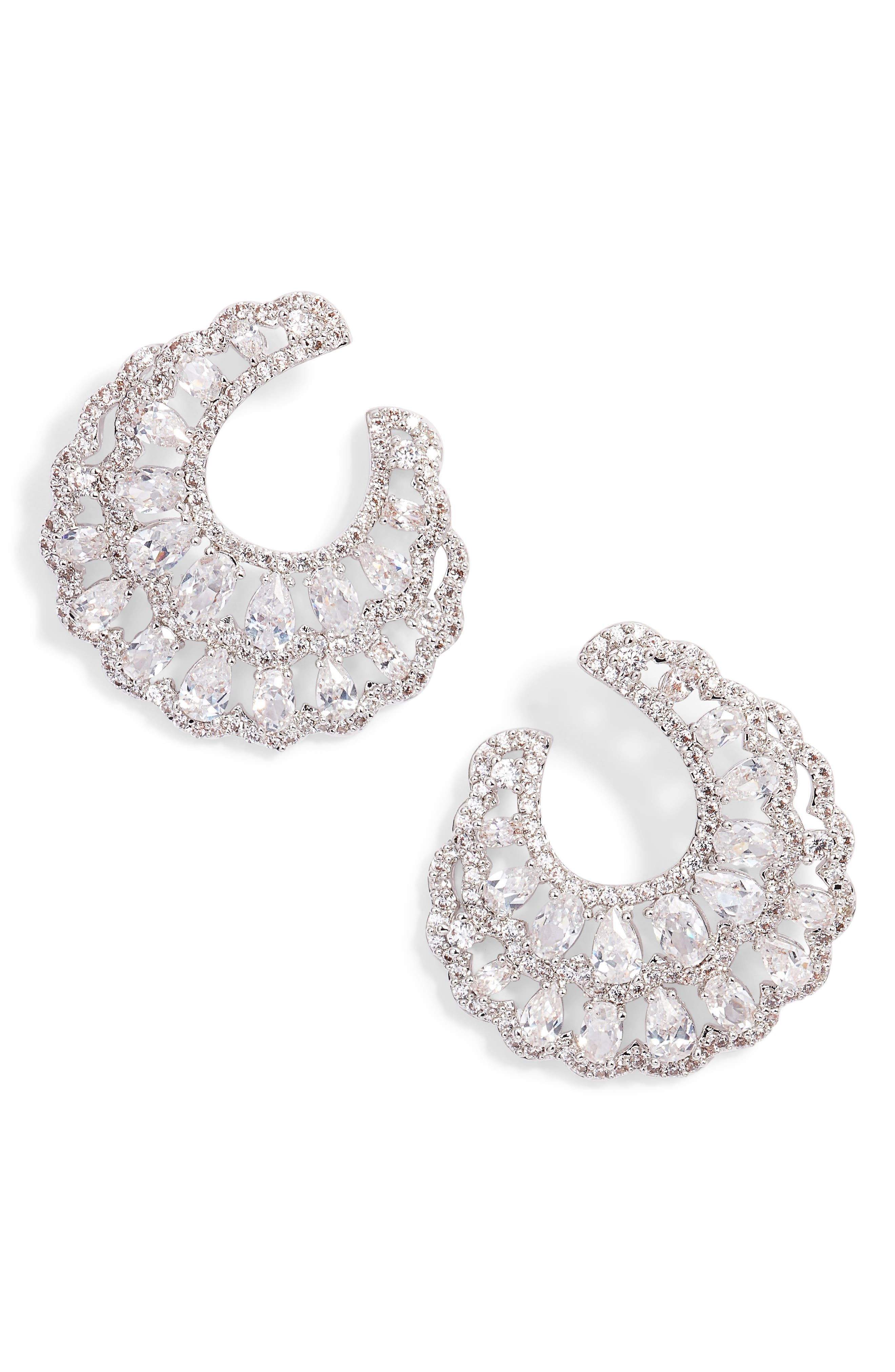 Layered Front/Back Hoop Earrings,                         Main,                         color, Silver/ White Cz