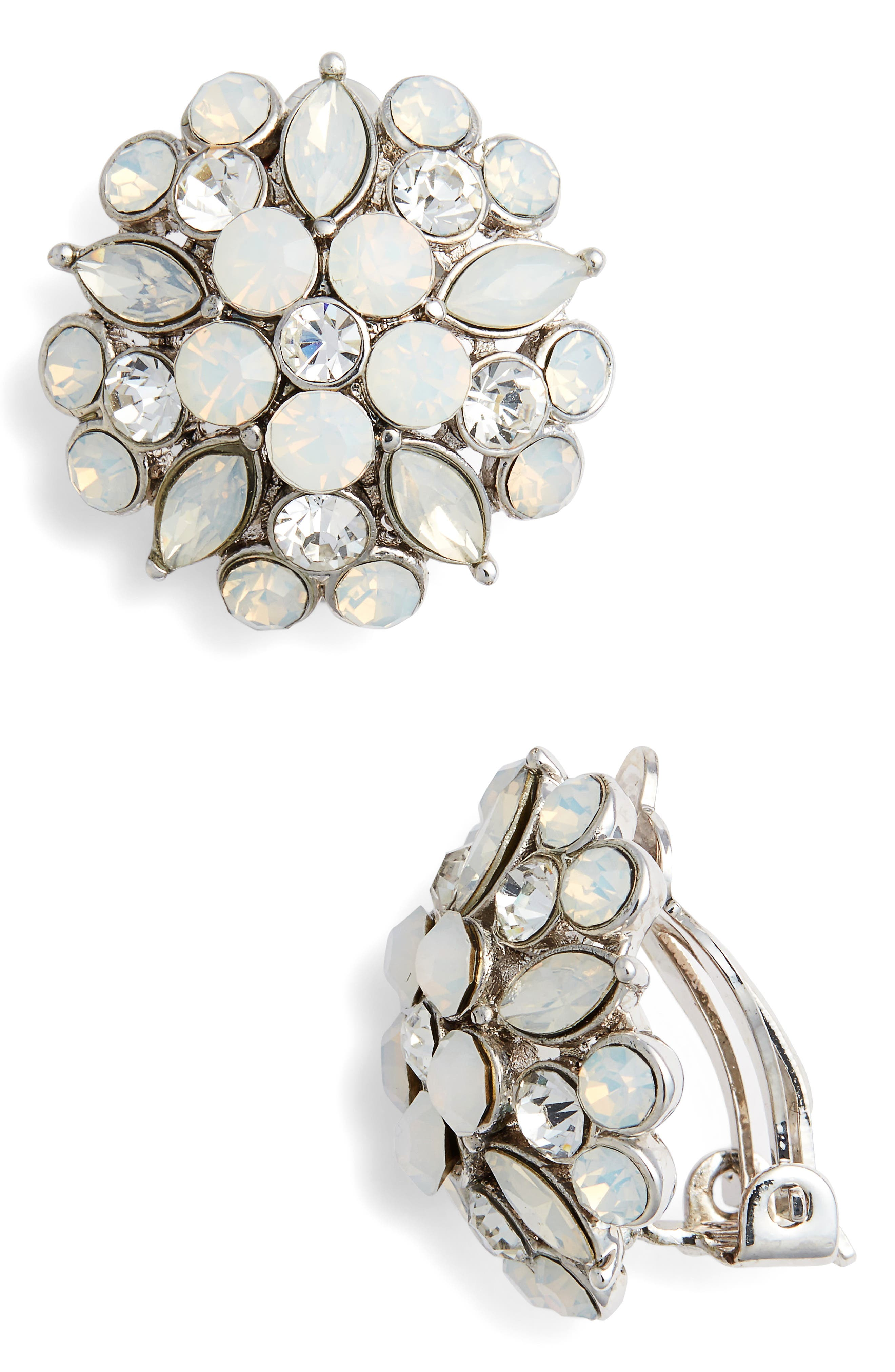 Floral Stud Earrings,                         Main,                         color, Silver/ Opal/ White Crystal