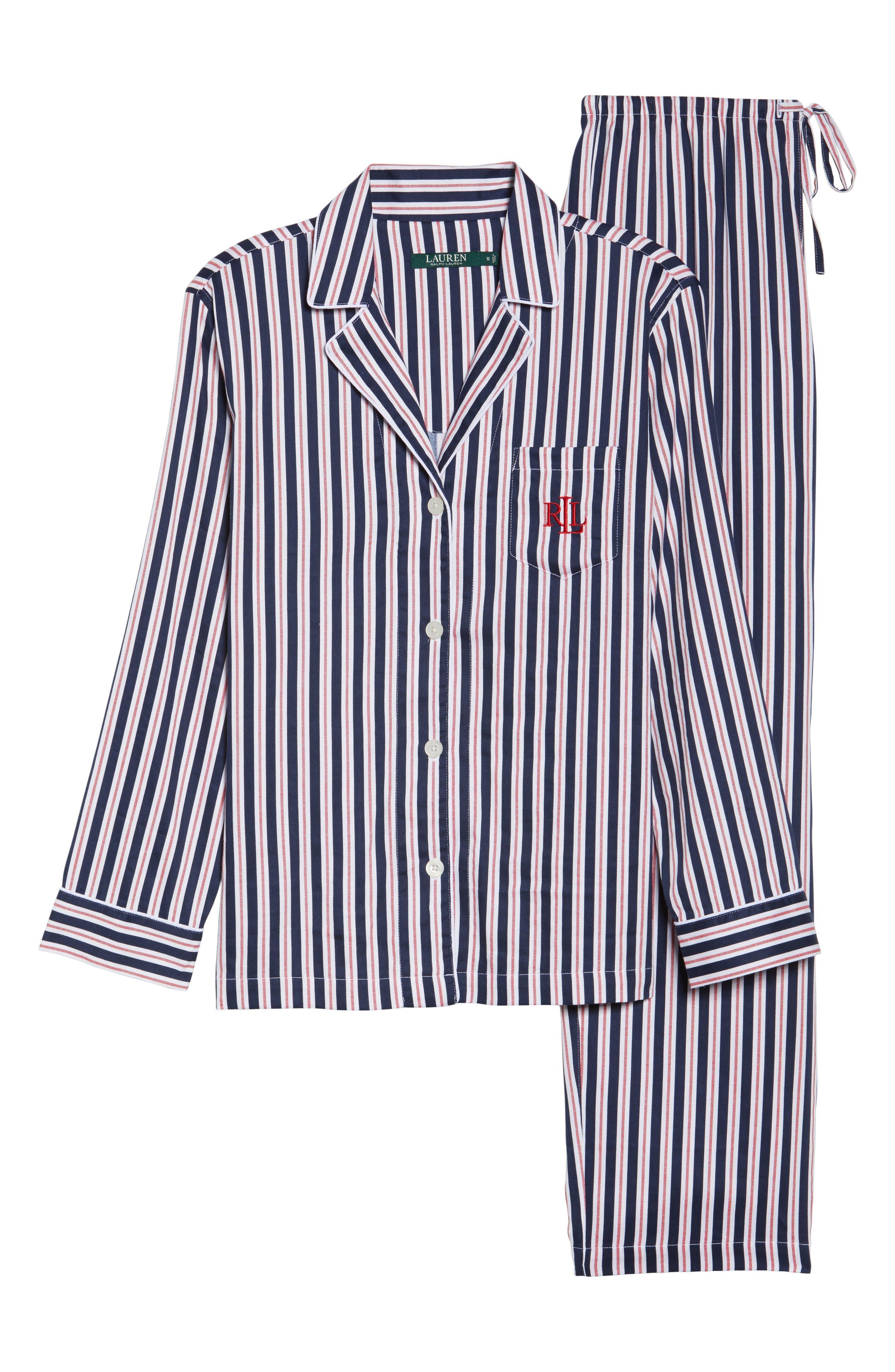 Sateen Pajamas,                             Alternate thumbnail 4, color,                             Navy Stripe
