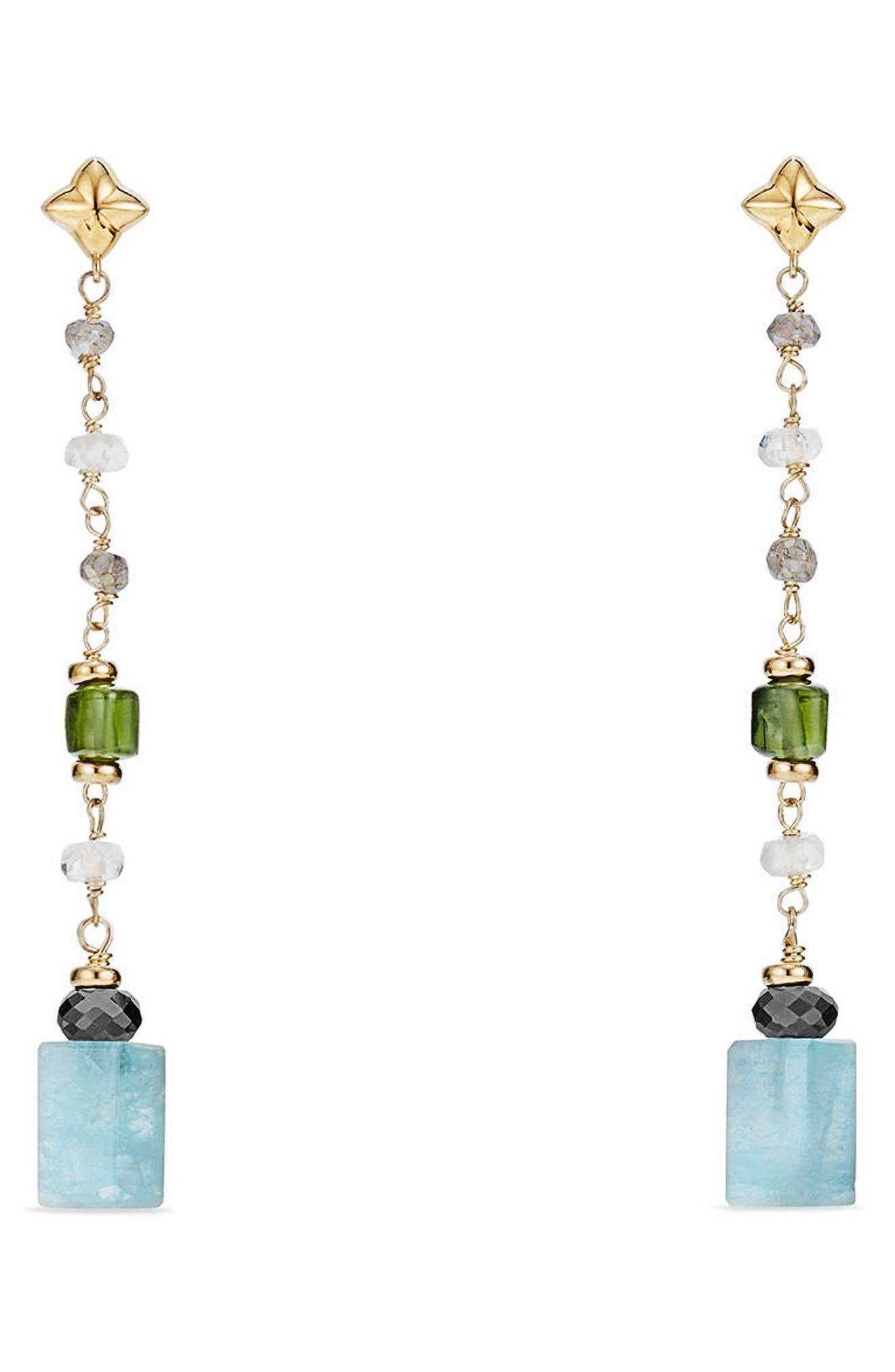 Bead & Chain Earrings with Semiprecious Stones,                             Main thumbnail 1, color,                             Aquamarine