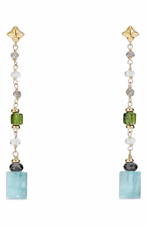 David Yurman Bead Chain Earrings With Semiprecious Stones