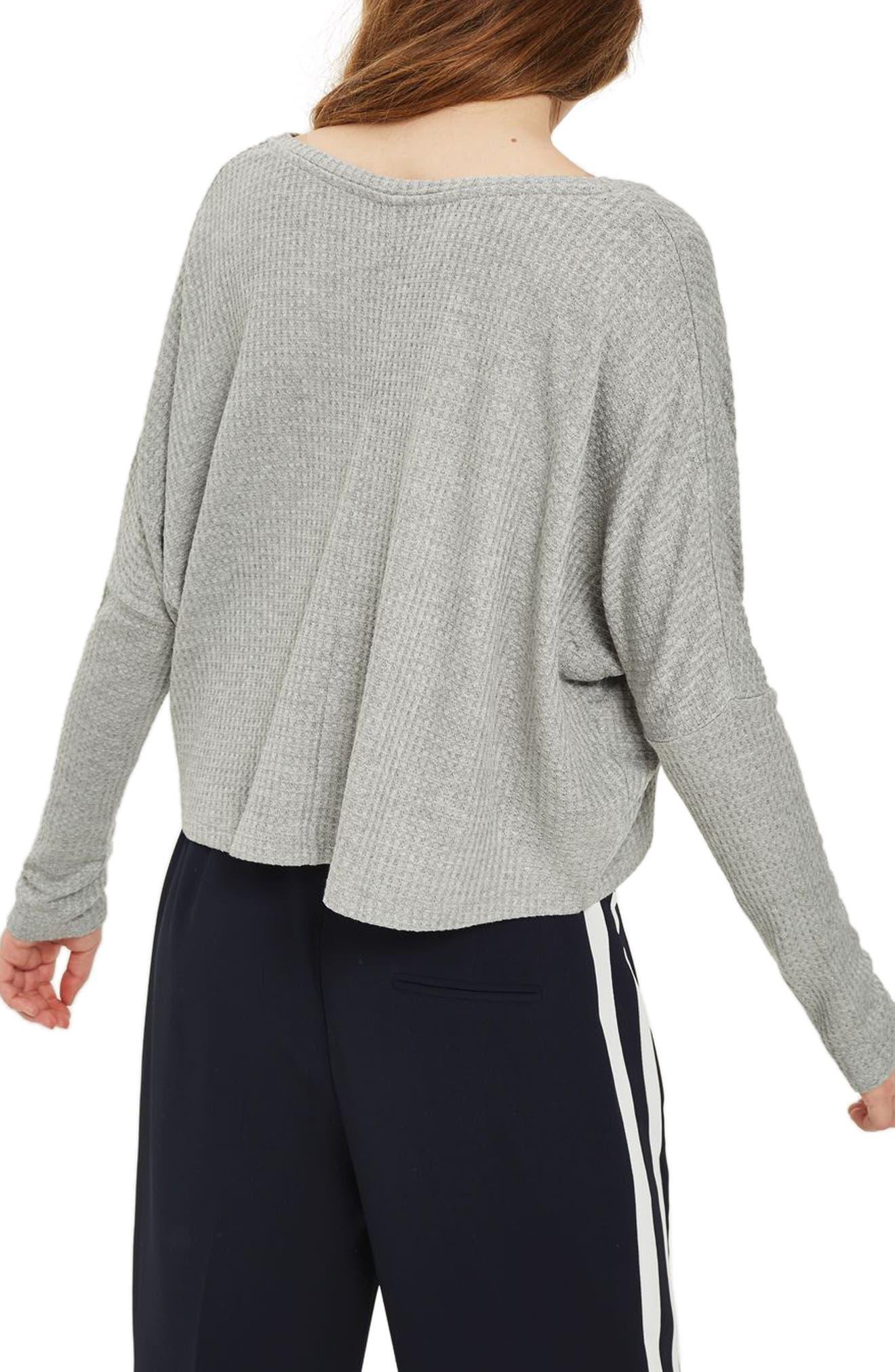 Waffle Knit Sweatshirt,                             Alternate thumbnail 2, color,                             Grey Marl