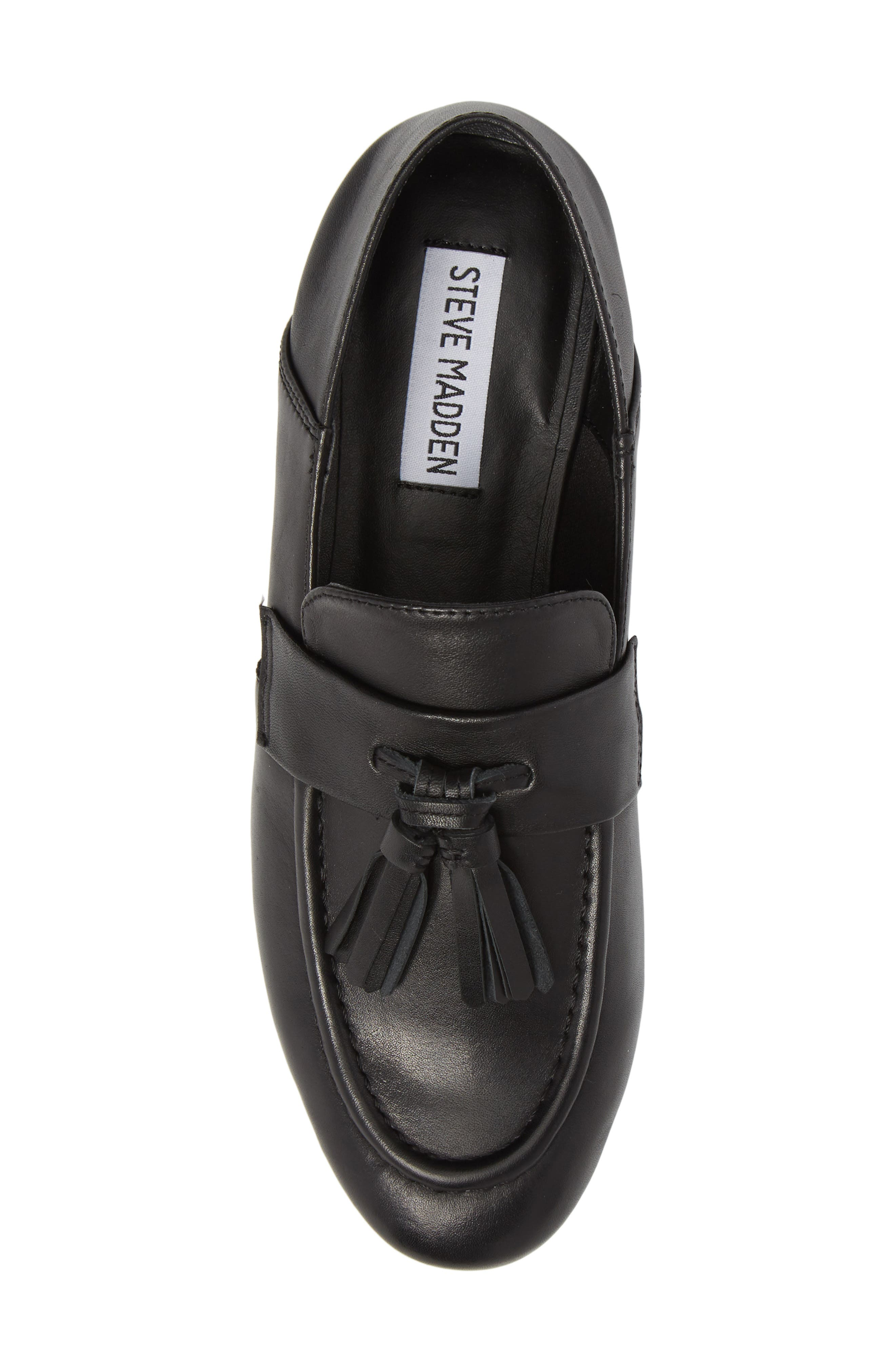 Beck Convertible Tasseled Loafer,                             Alternate thumbnail 6, color,                             Black Leather