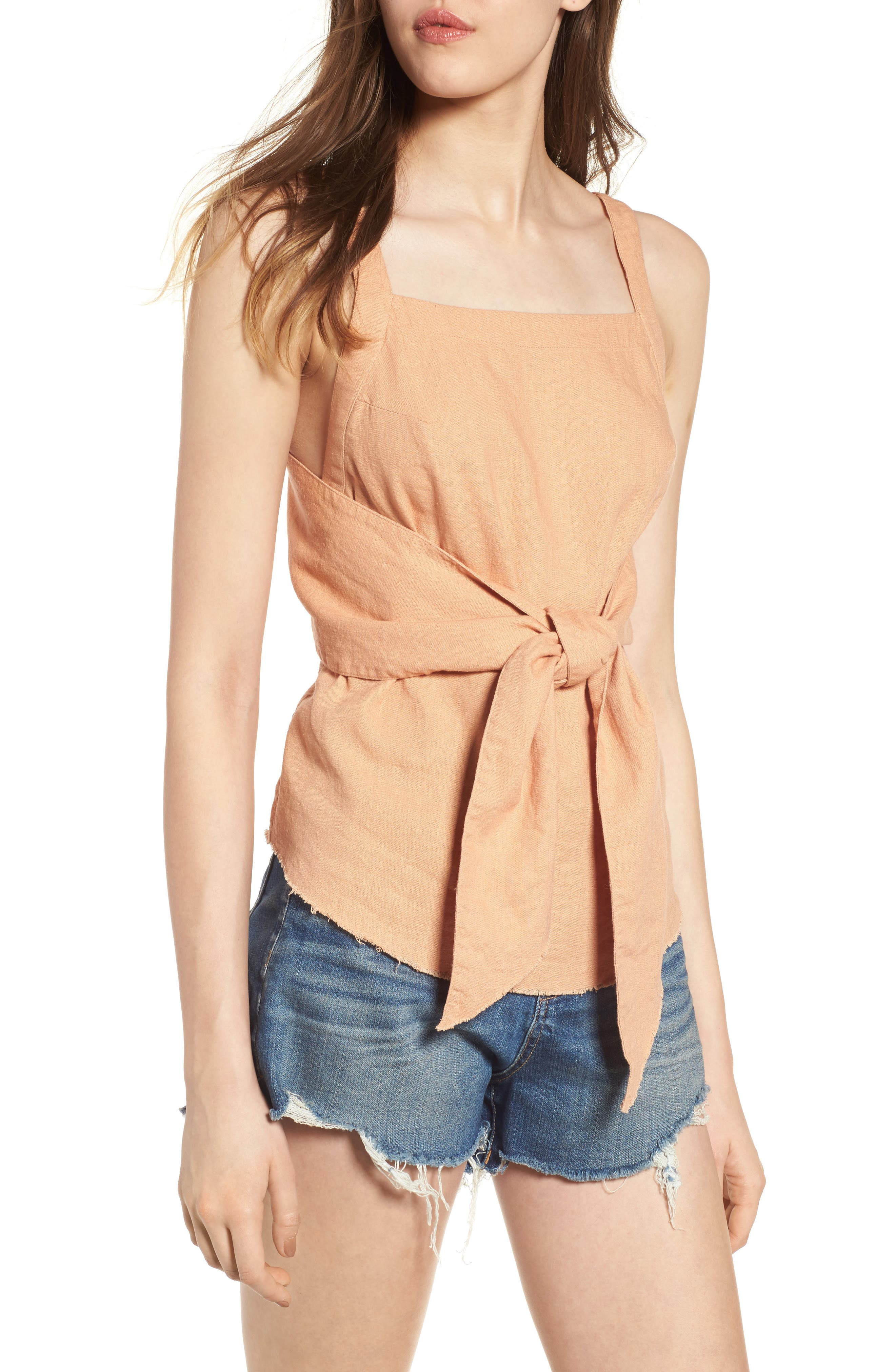 Tie Front Linen Blend Tank Top,                         Main,                         color, Tan Toast