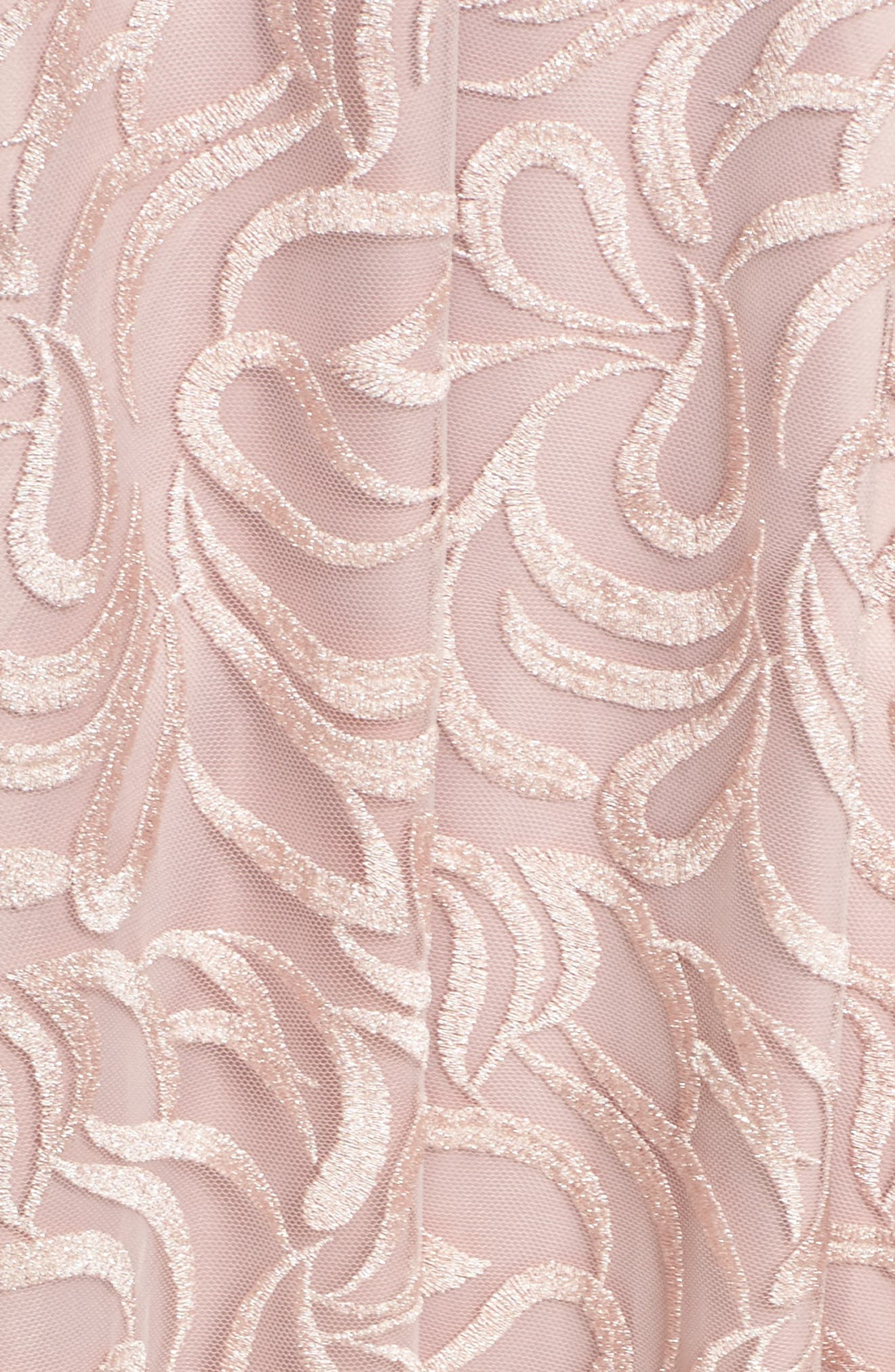 Belted Embroidered Gown,                             Alternate thumbnail 5, color,                             Blush