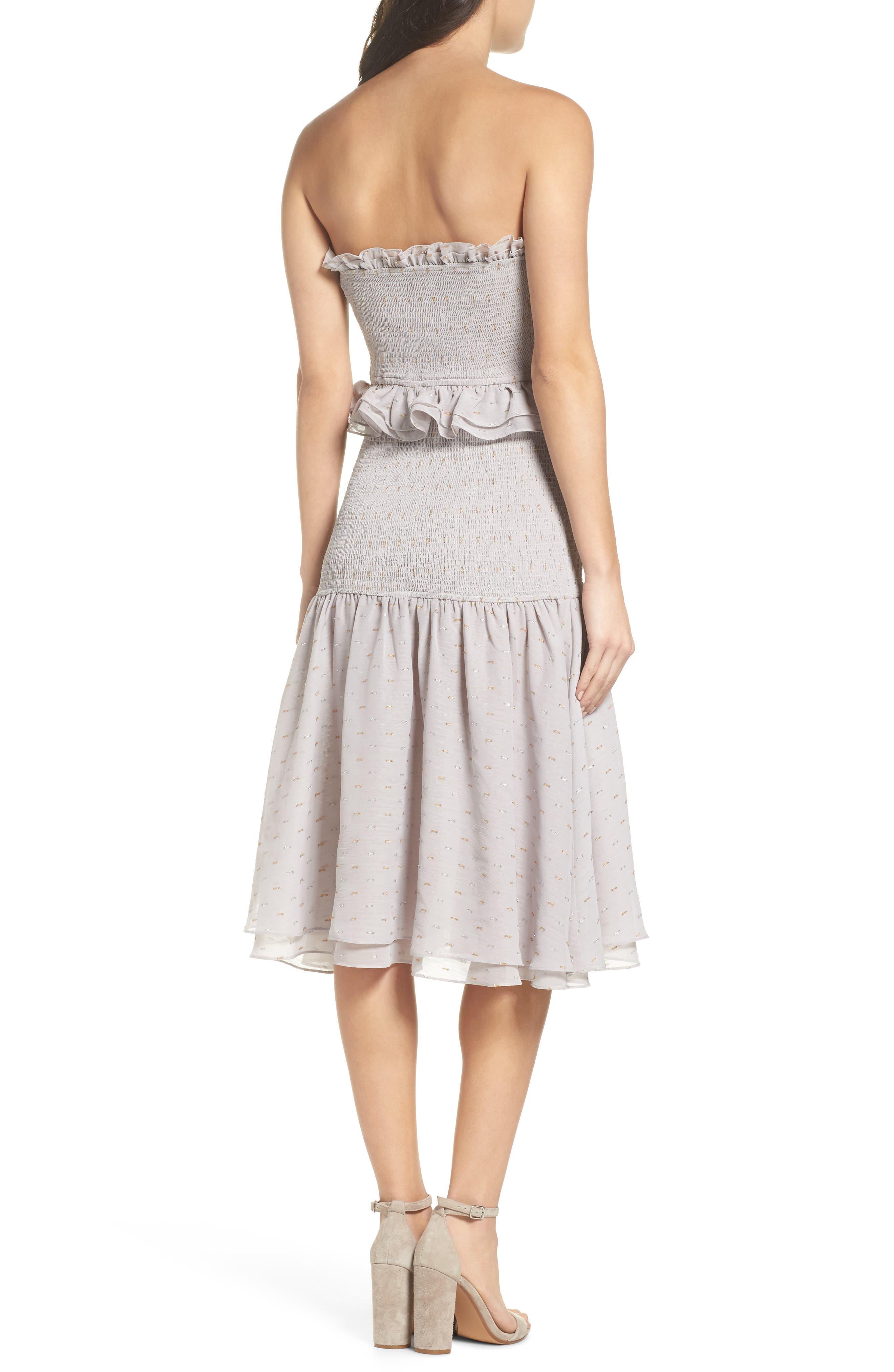 Grey Violet Smocked Midi Dress,                             Alternate thumbnail 2, color,                             Grey