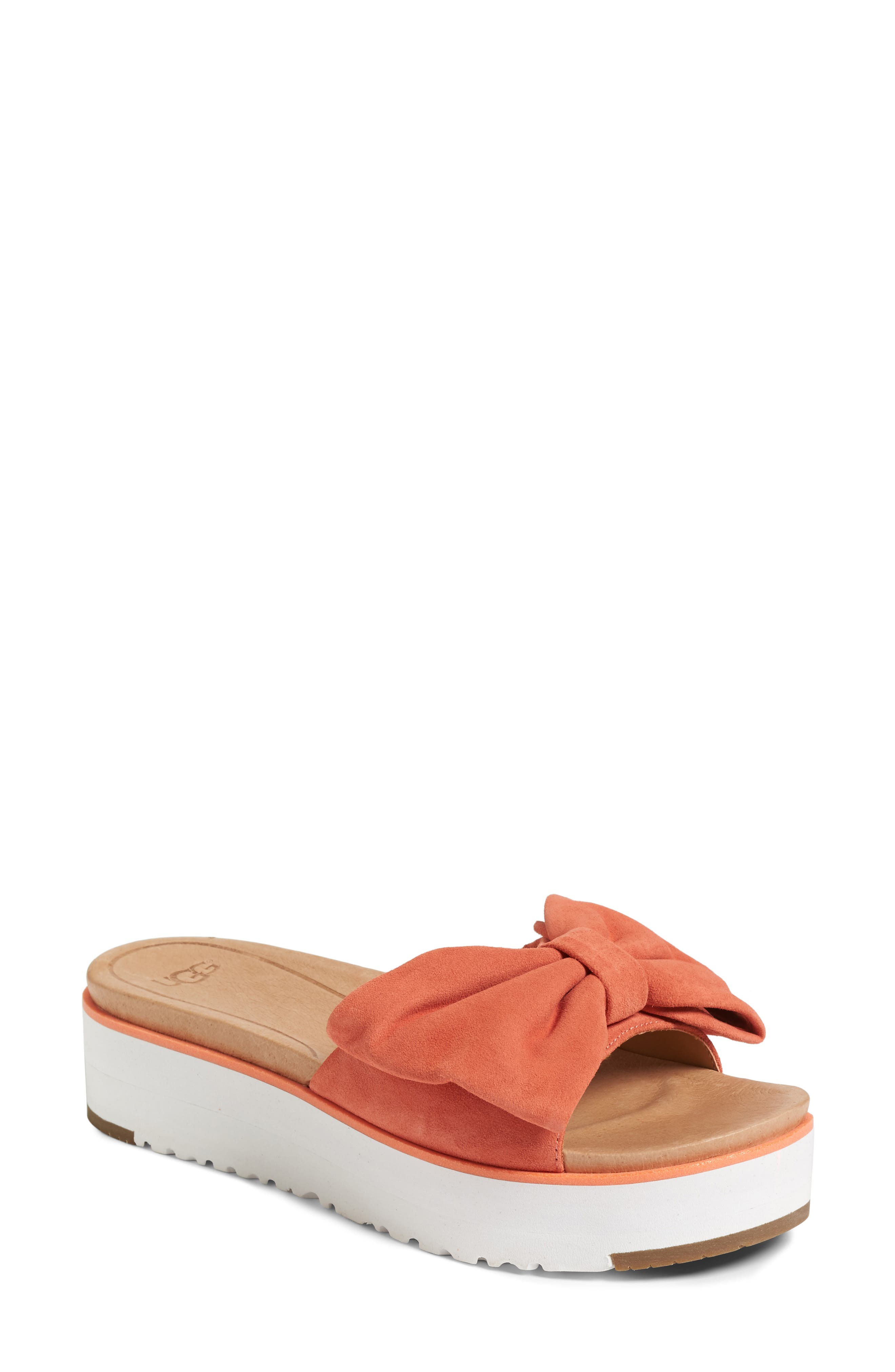 451b493ab79 Ugg Joan Platform Sandal In Vibrant Coral Suede
