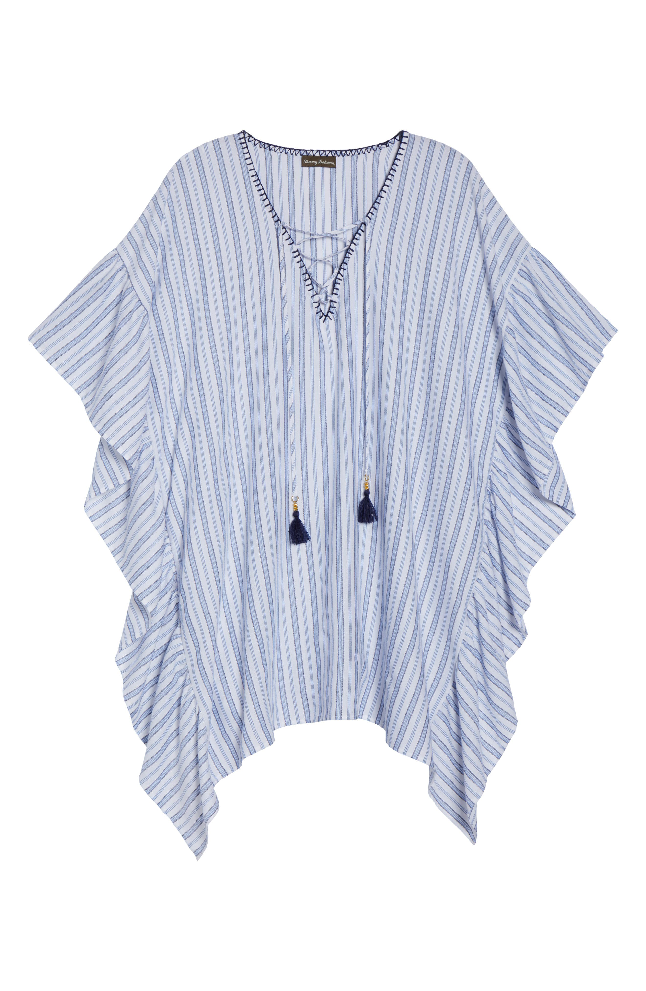 Ticking Stripe Cover-Up Tunic,                             Alternate thumbnail 6, color,                             White