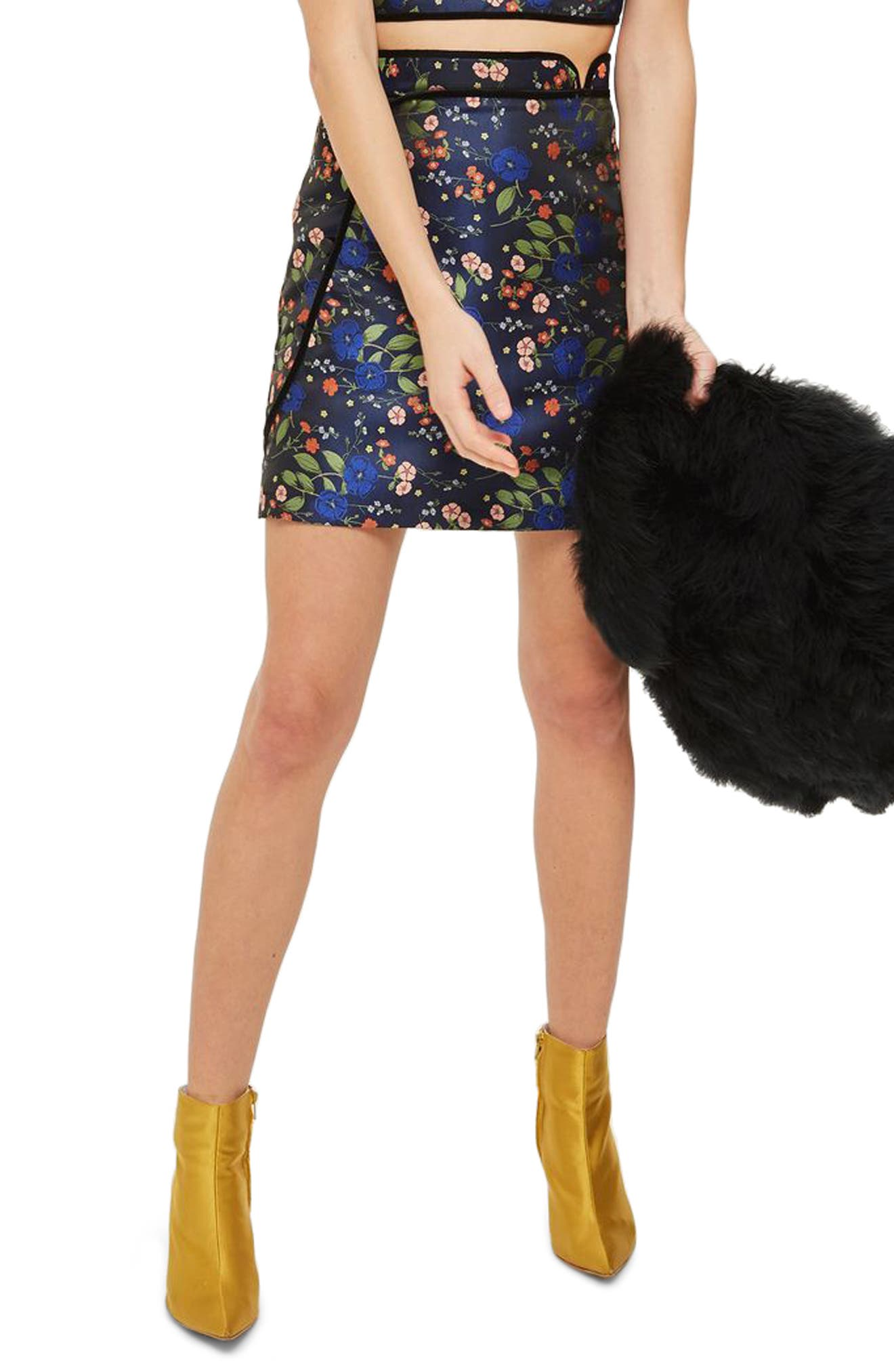 Satin Jacquard Wrap Skirt,                         Main,                         color, Navy Blue Multi