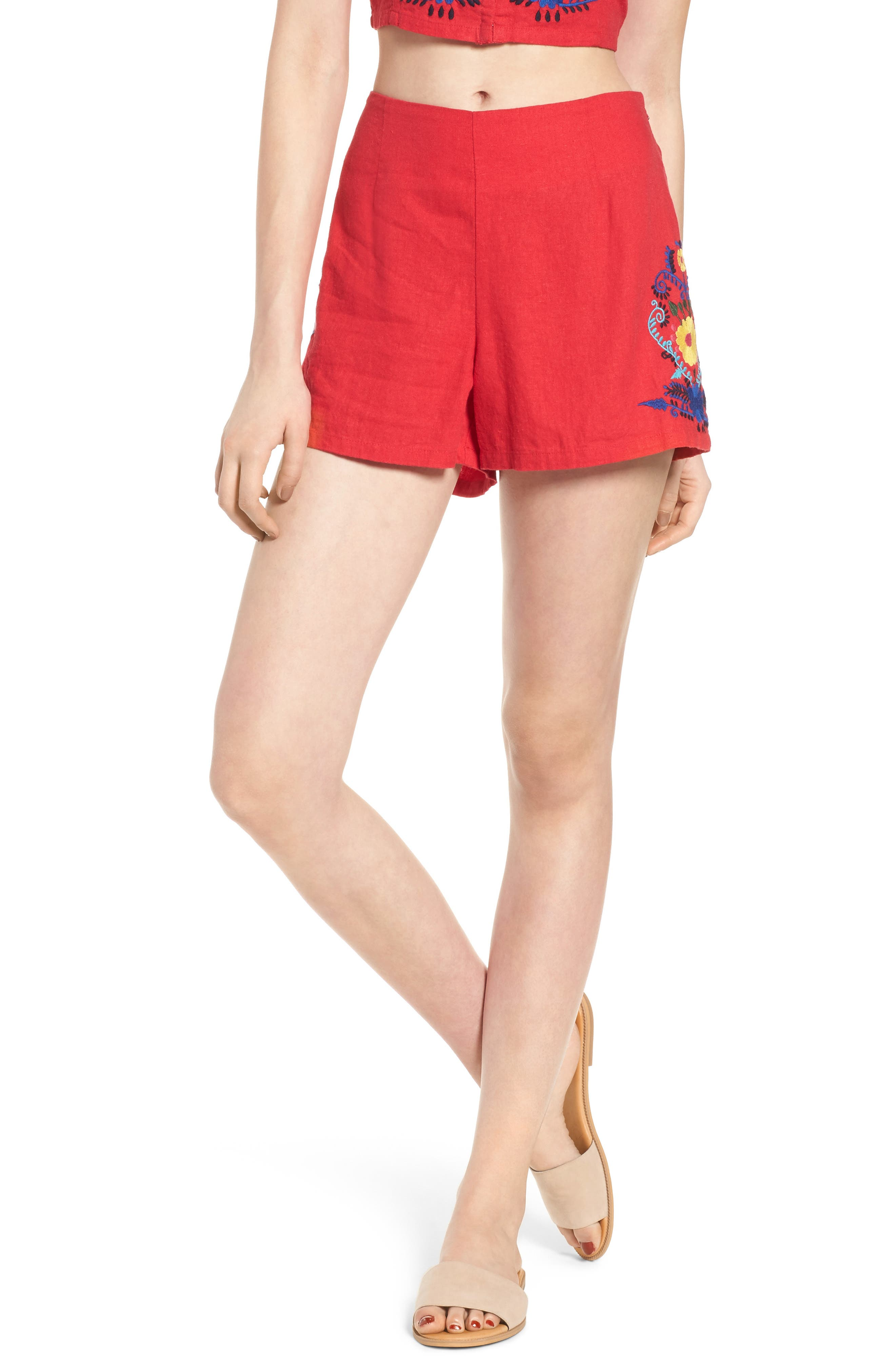 Embroidered Linen Blend Shorts,                             Main thumbnail 1, color,                             Red Lipstick