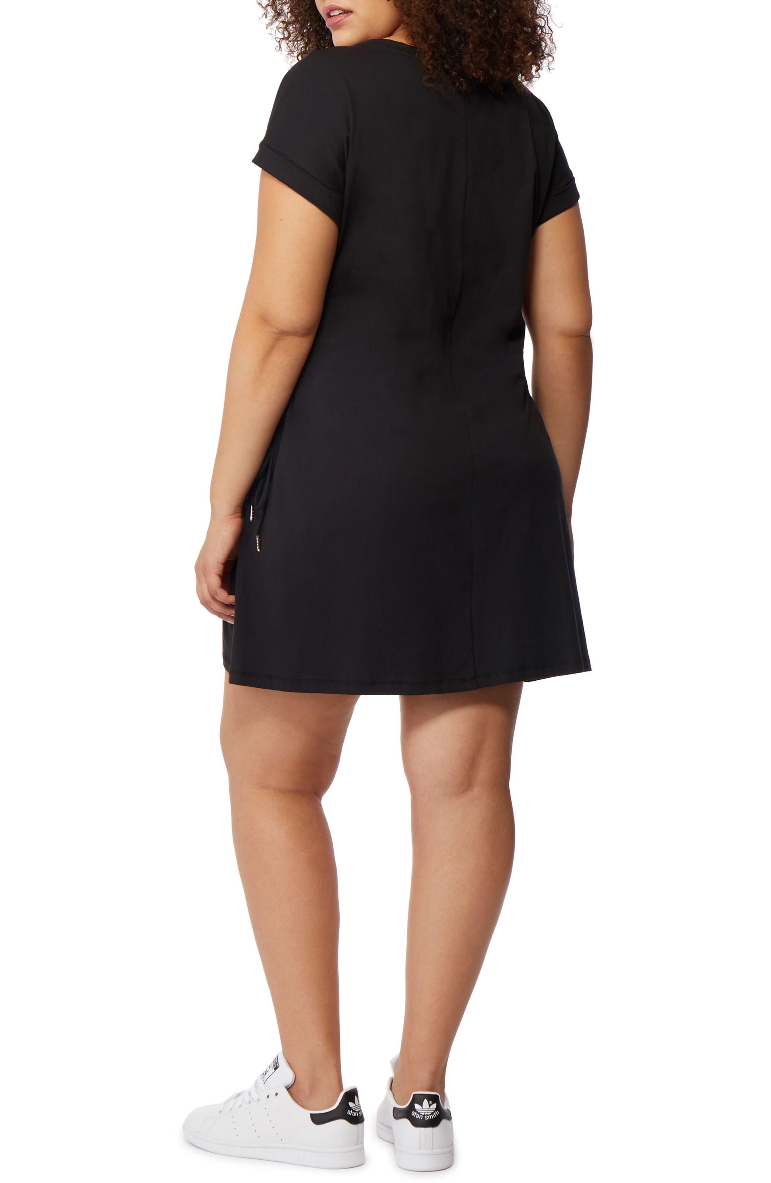 Corset Side T-Shirt Dress,                             Alternate thumbnail 2, color,                             Black