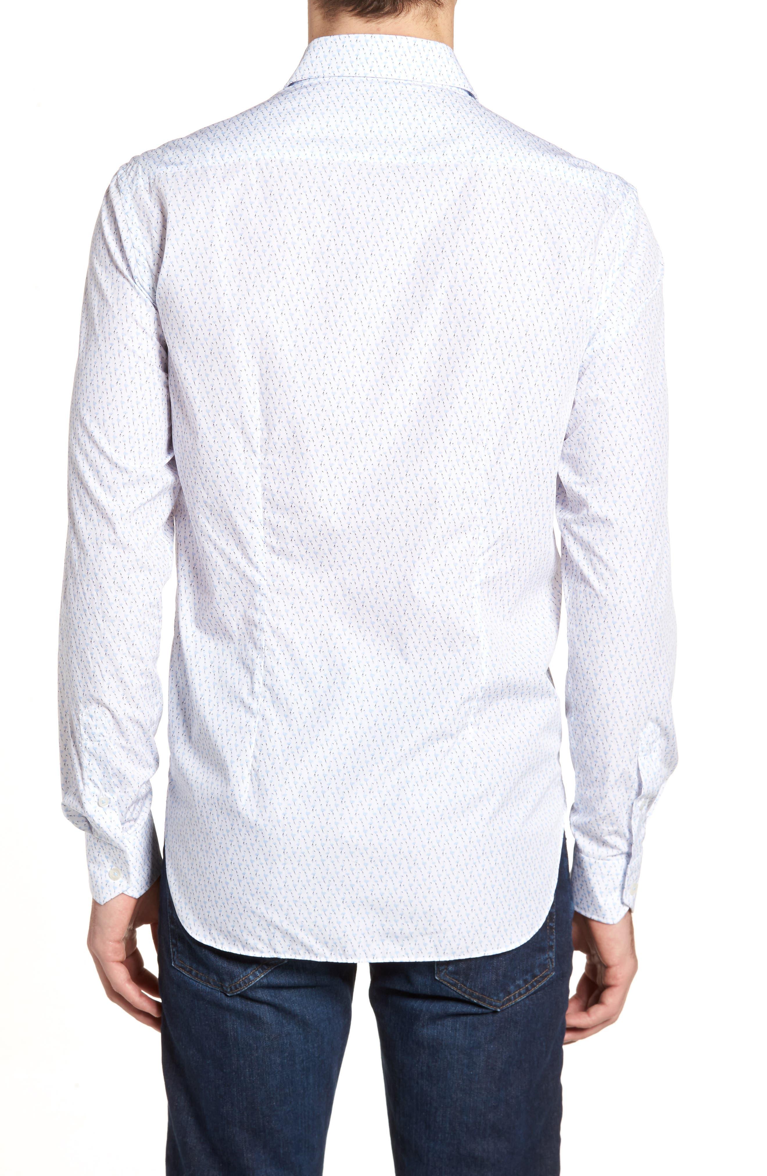 Tailored Fit Flamingo Print Sport Shirt,                             Alternate thumbnail 2, color,                             White