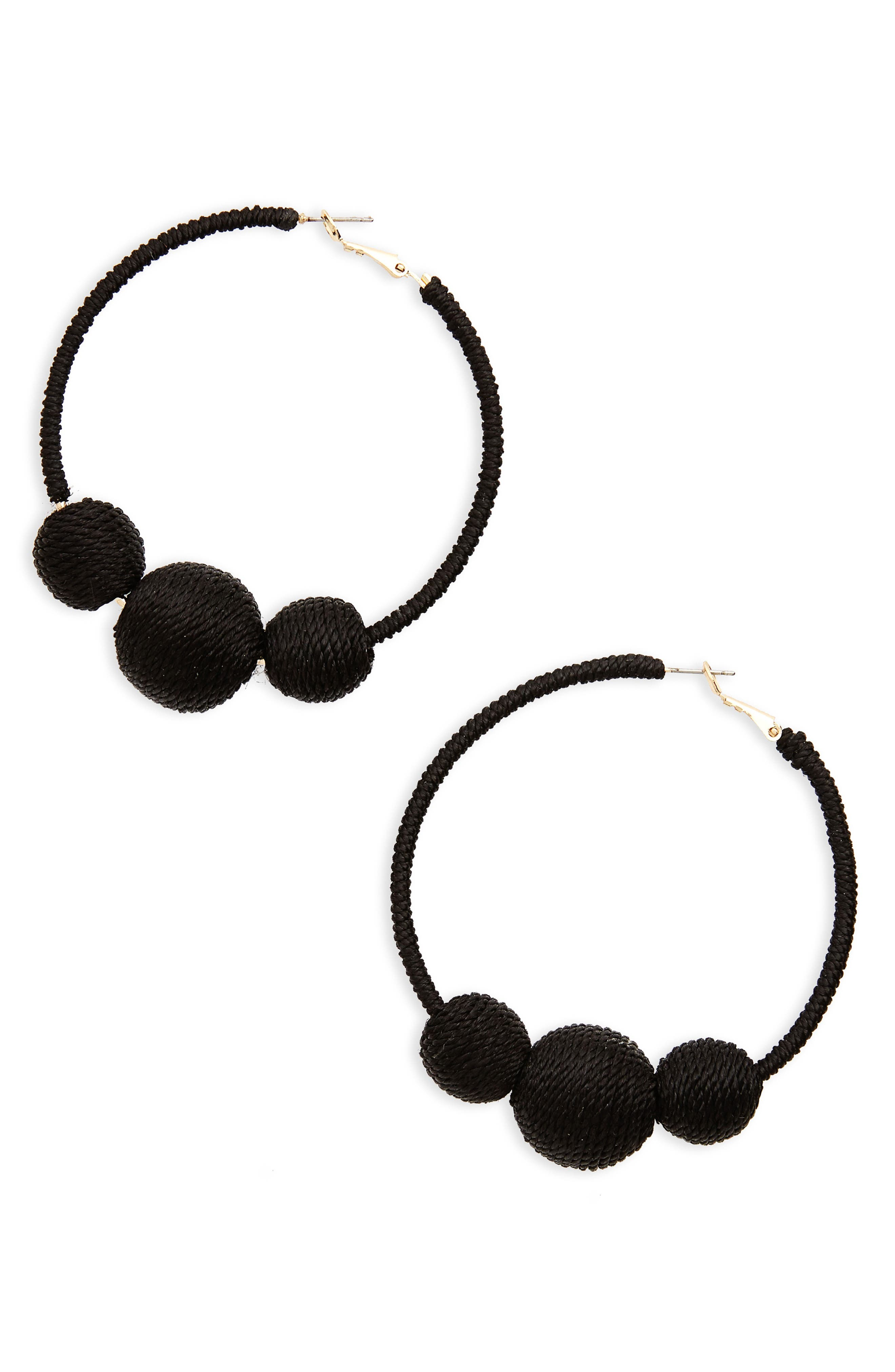 Wrapped Ball Hoop Earrings,                         Main,                         color, Black