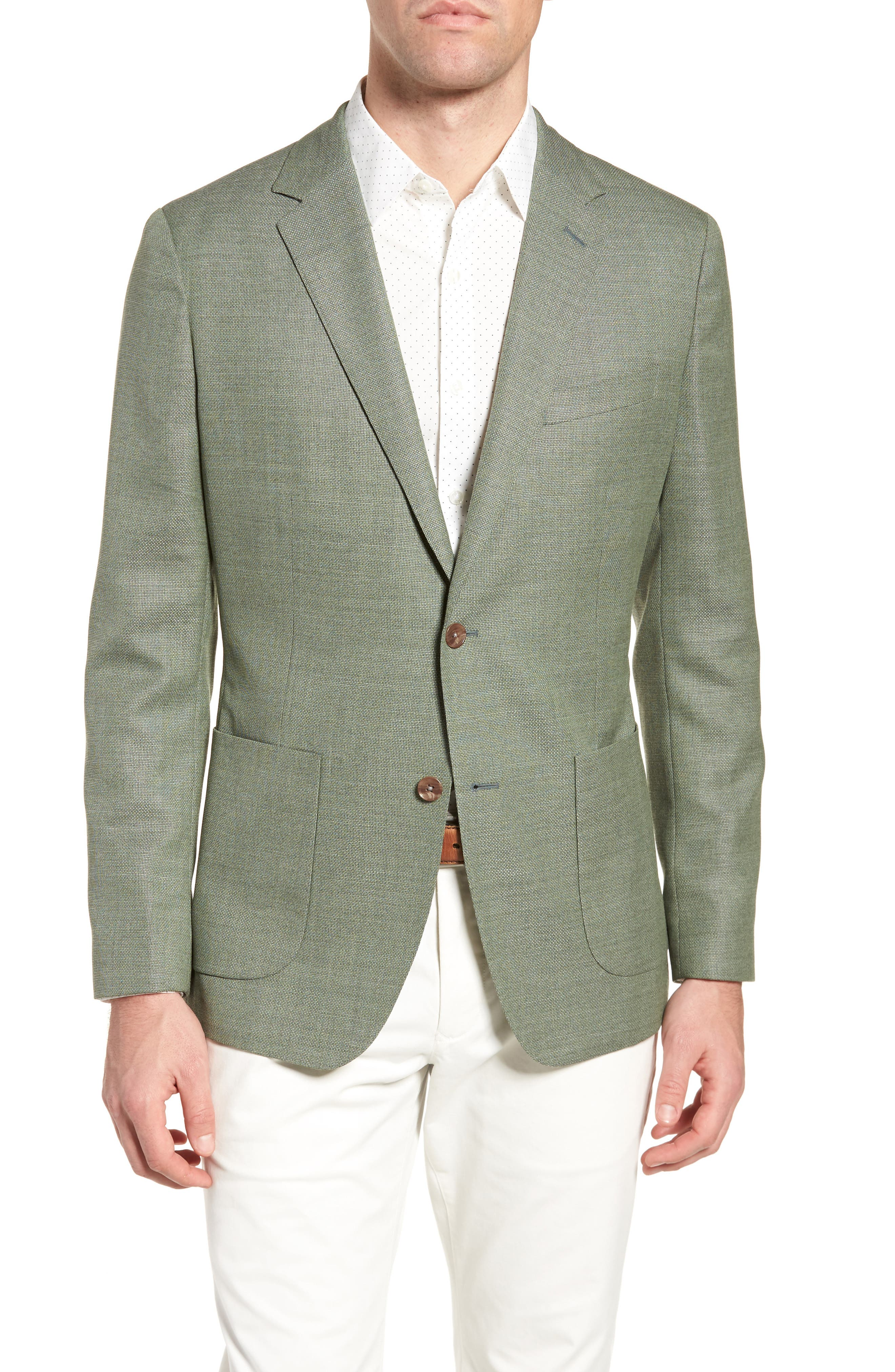Trim Fit Wool Unconstructed Blazer,                         Main,                         color, Washed Green