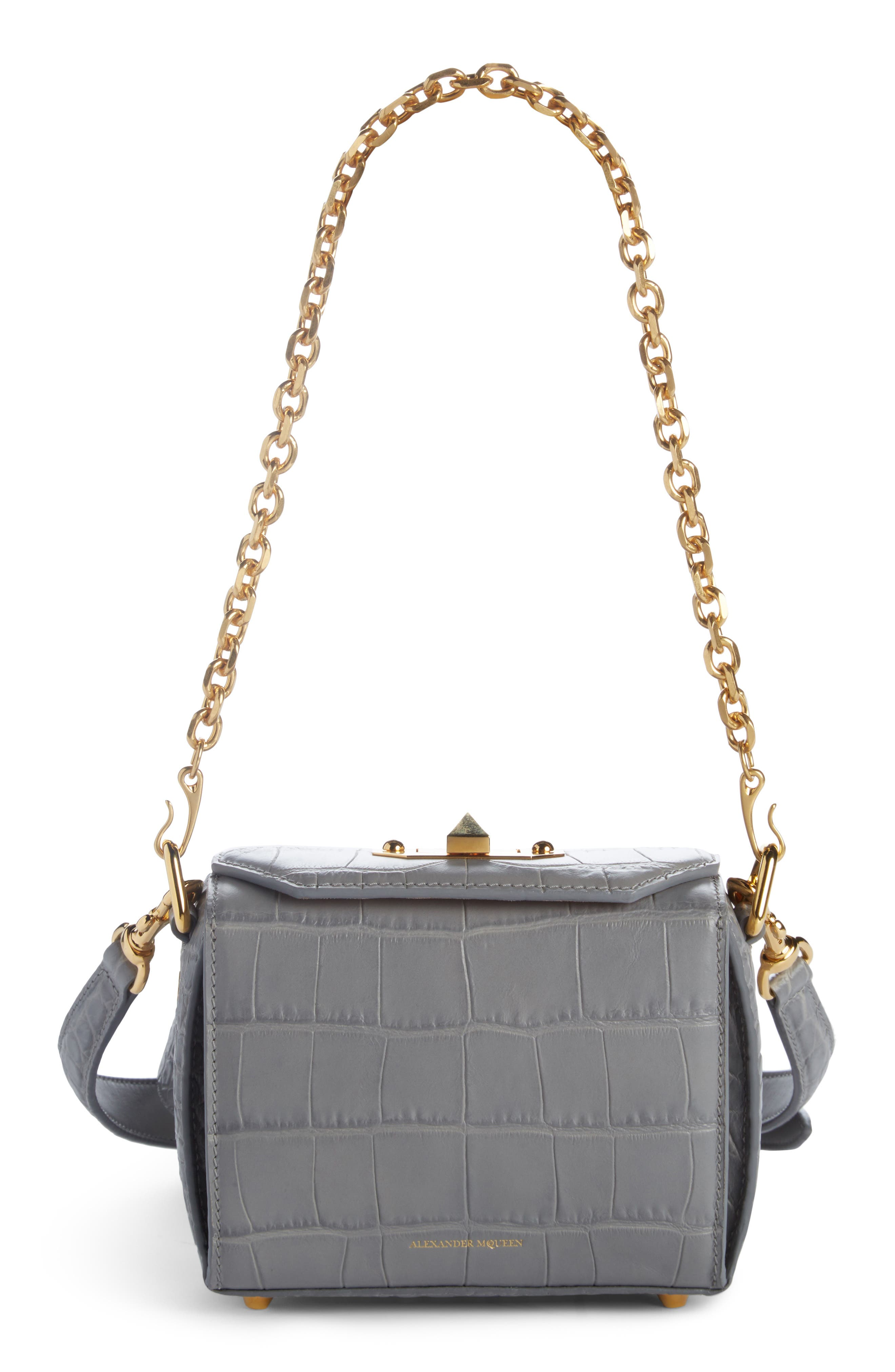 Alternate Image 2  - Alexander McQueen Mini Box Croc-Embossed Leather Bag