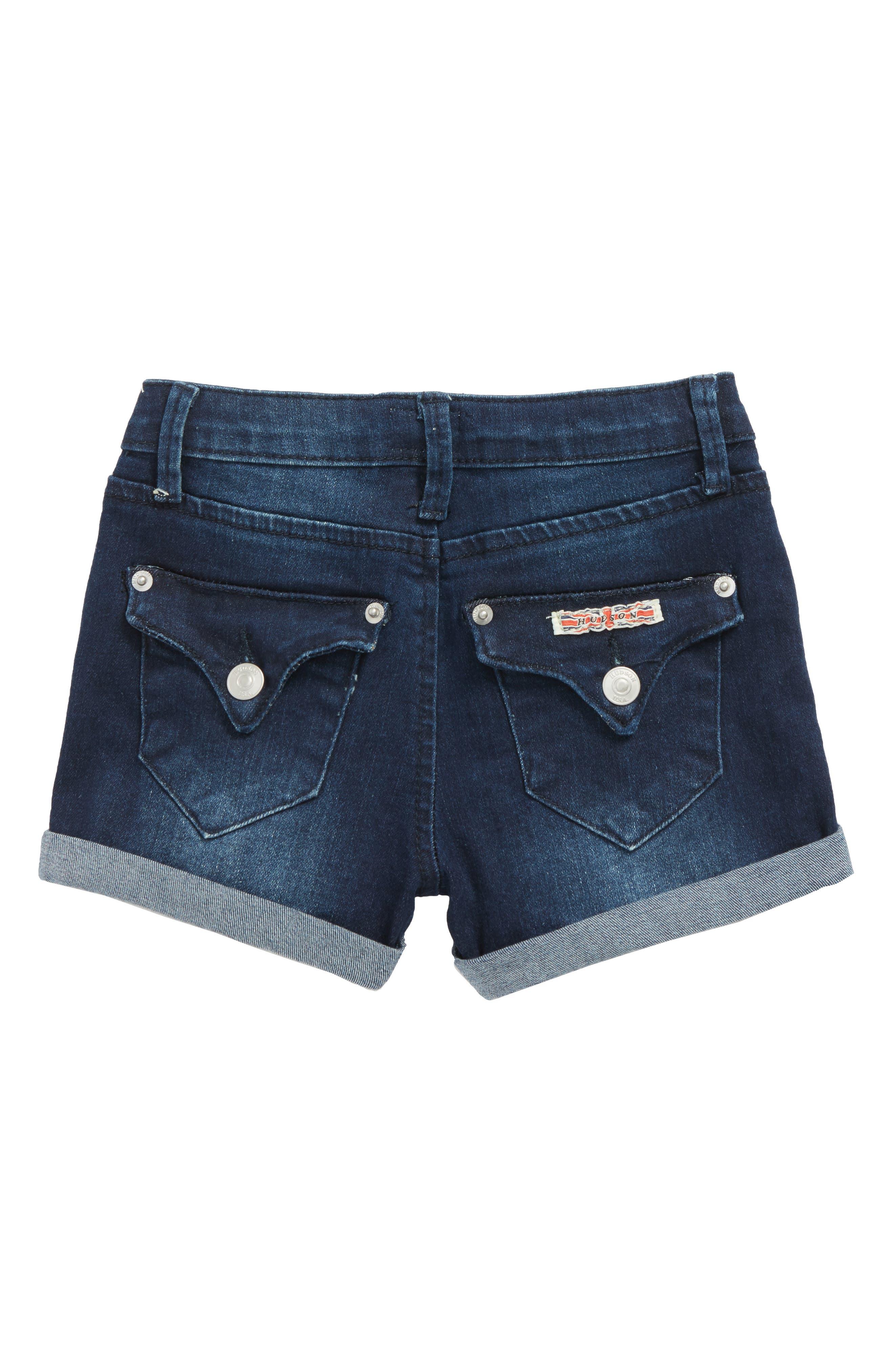 Roll Cuff Denim Shorts,                             Alternate thumbnail 2, color,                             Low Octane Blue