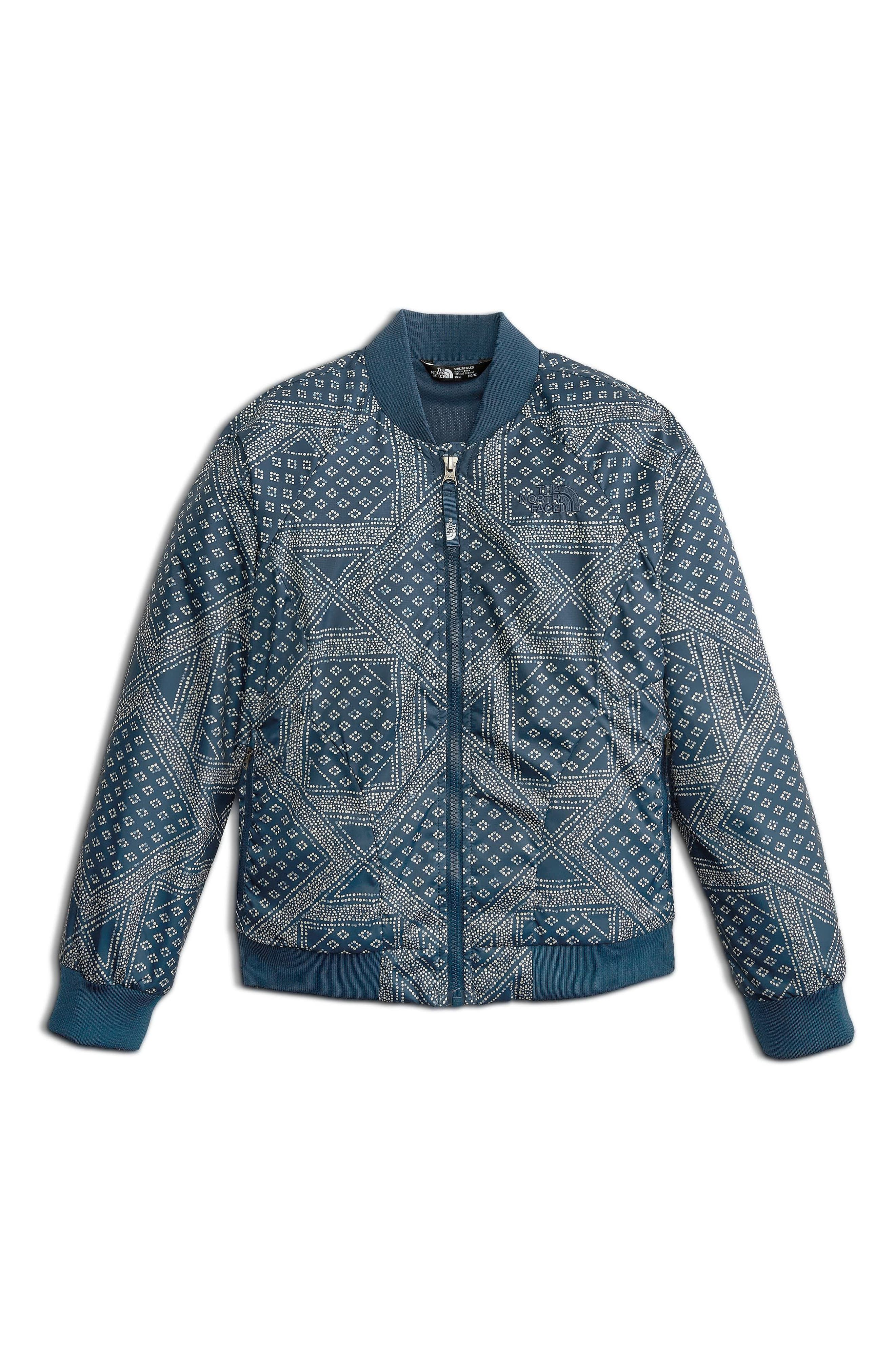 Flurry Wind Bomber Jacket,                             Main thumbnail 1, color,                             Blue Wing Teal Bandana Print