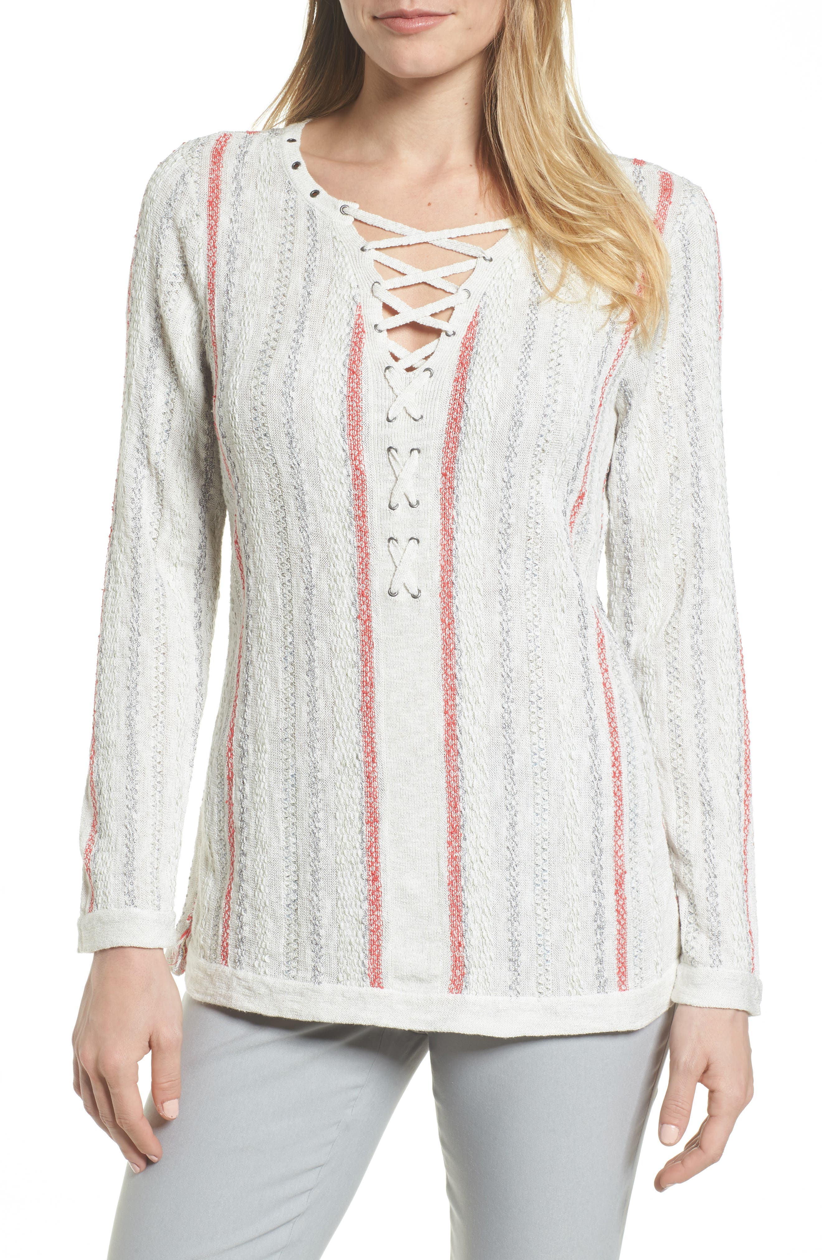 NIC + ZOE Cross Country Lace-Up Top,                             Main thumbnail 1, color,                             Multi
