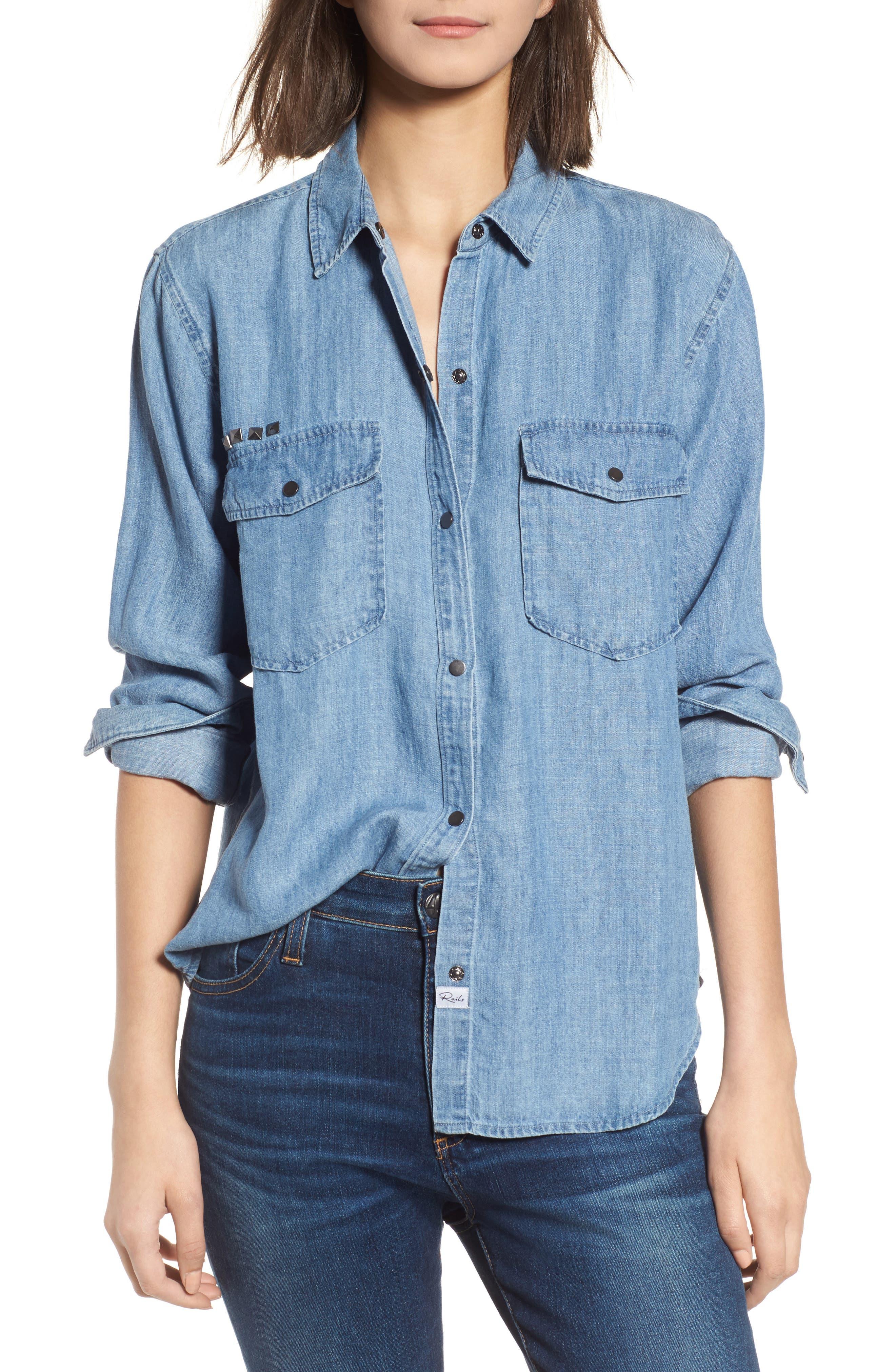 Kade Denim Shirt,                         Main,                         color, Medium Vintage