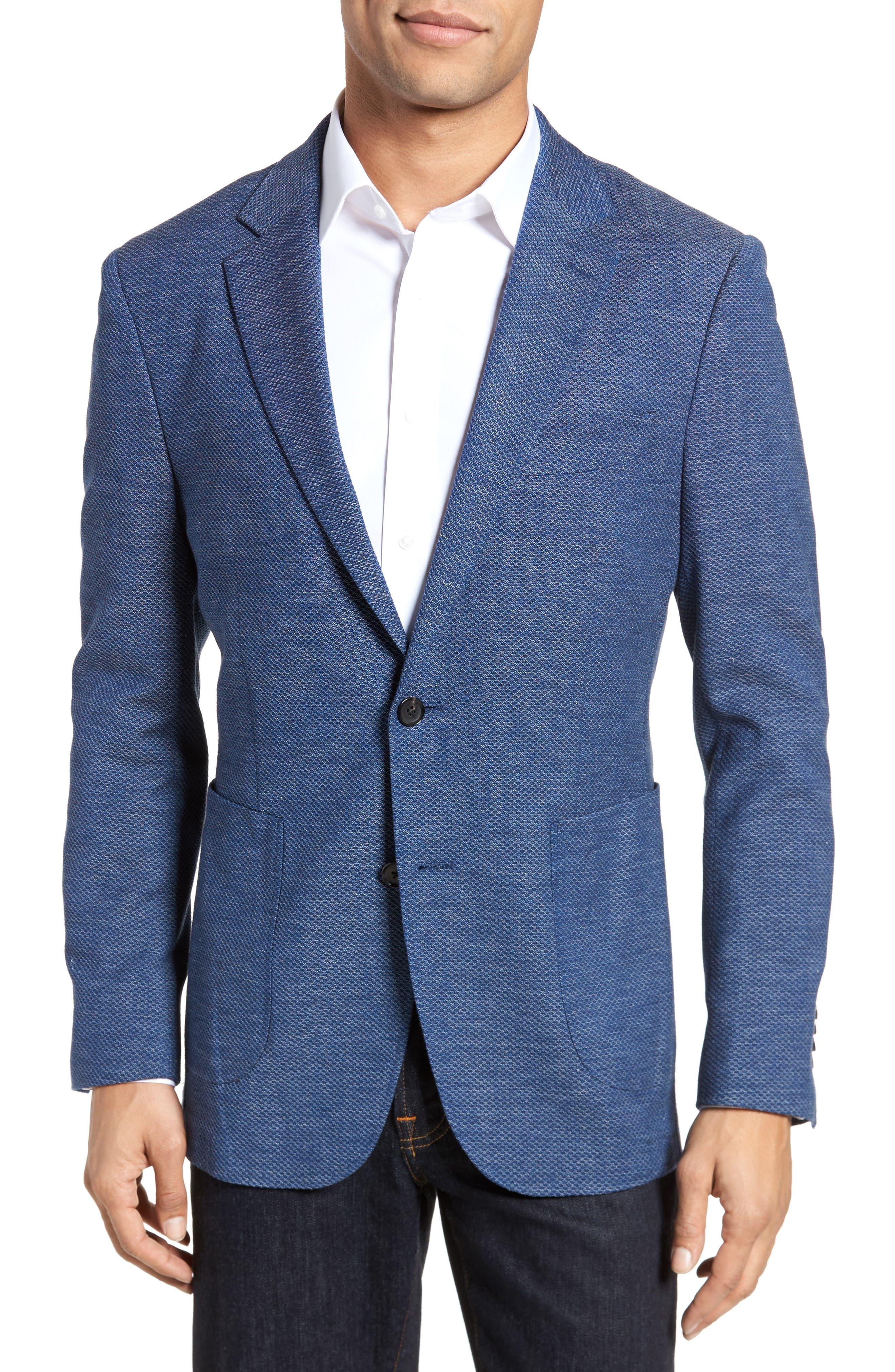 Fife Street Wool Blend Blazer,                             Main thumbnail 1, color,                             Marine
