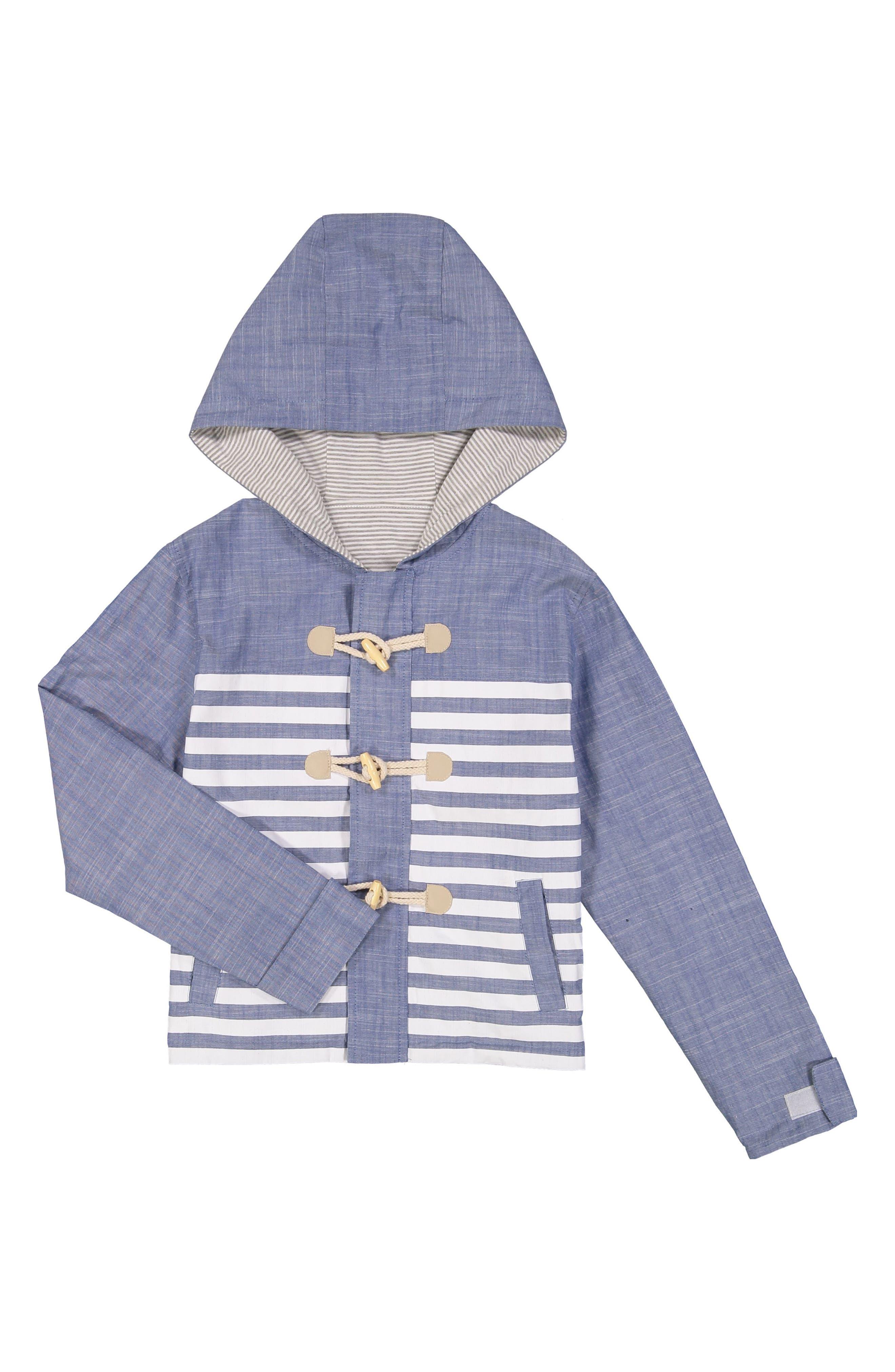 Water Resistant Reversible Hooded Jacket,                         Main,                         color, Blue
