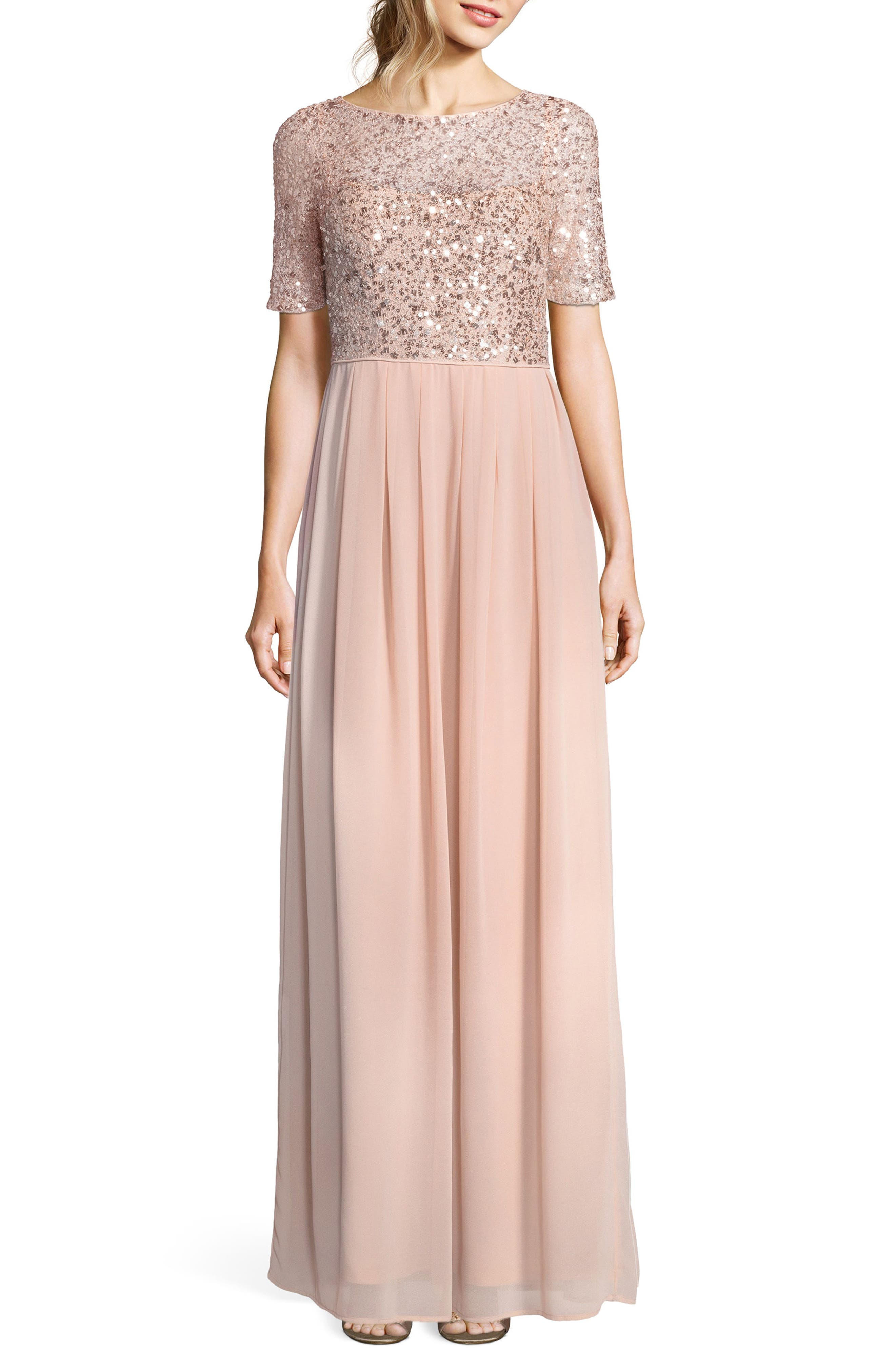 Beaded Bodice Georgette Gown,                         Main,                         color, English Rose