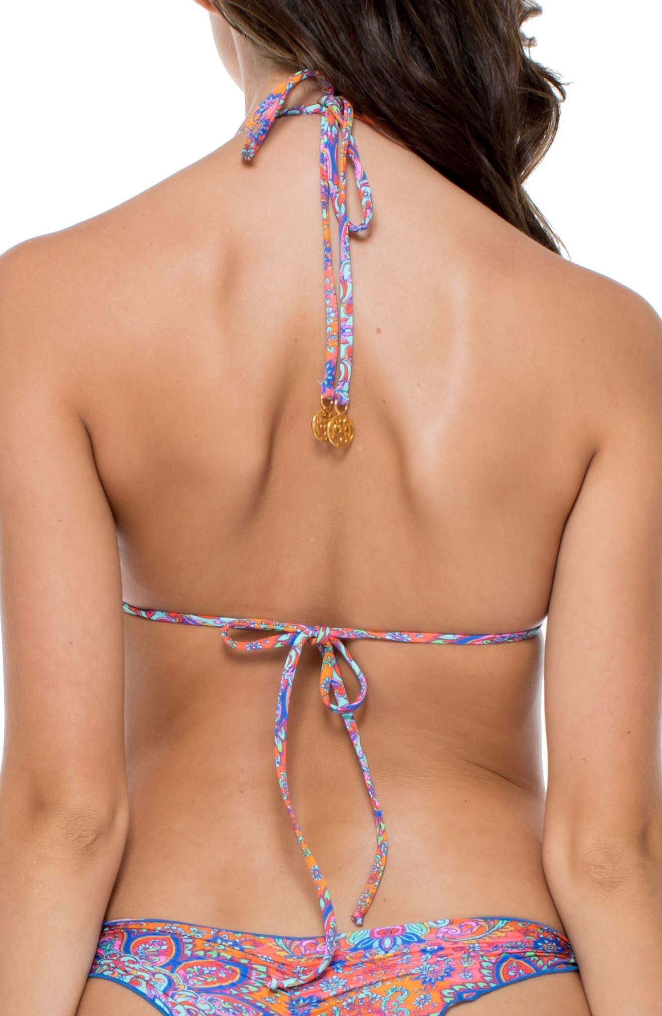 Stitched Triangle Bikini Top,                             Alternate thumbnail 2, color,                             Pink Multi