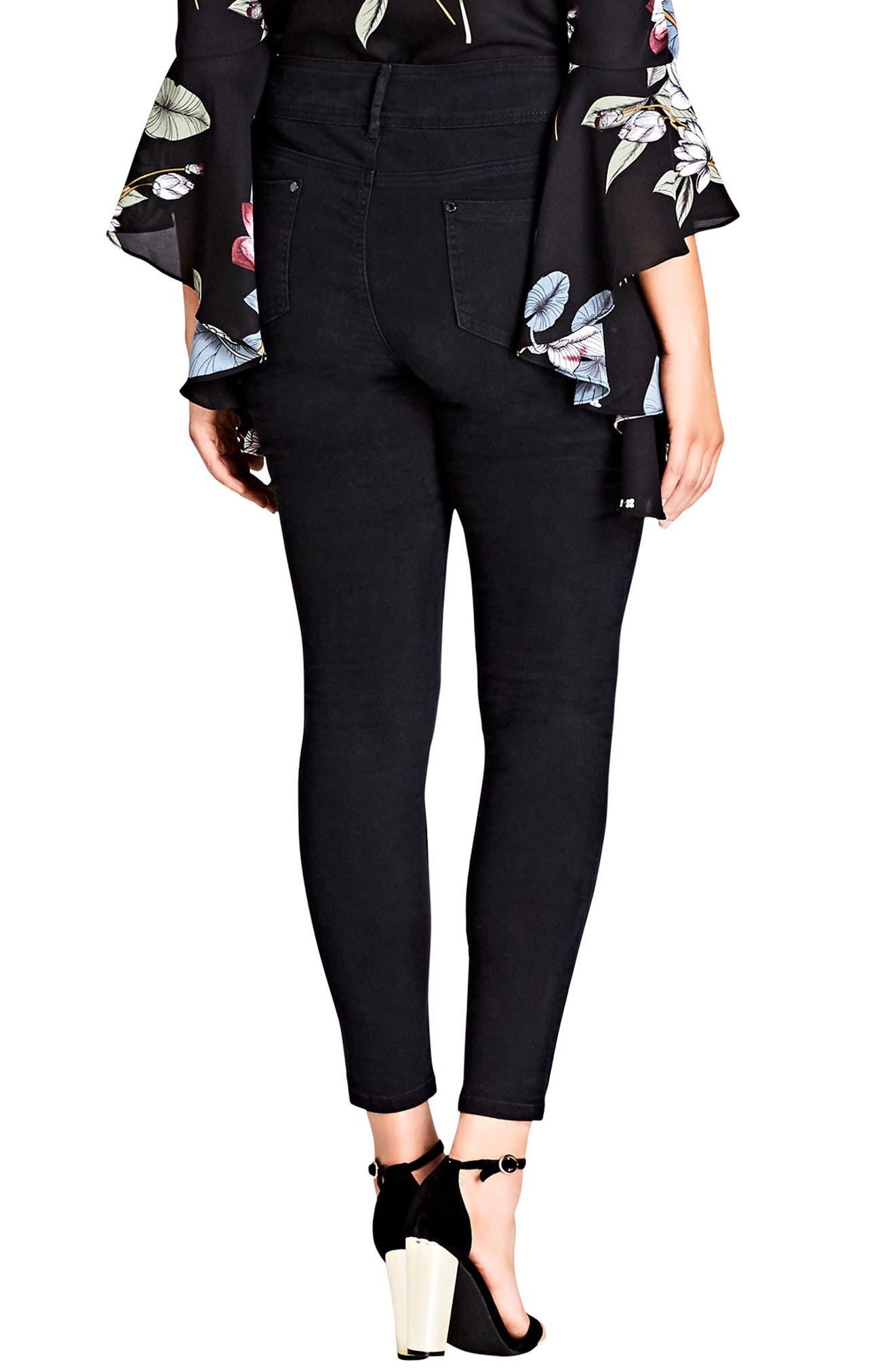 Asha Ripped Skinny Jeans,                             Alternate thumbnail 2, color,                             Black