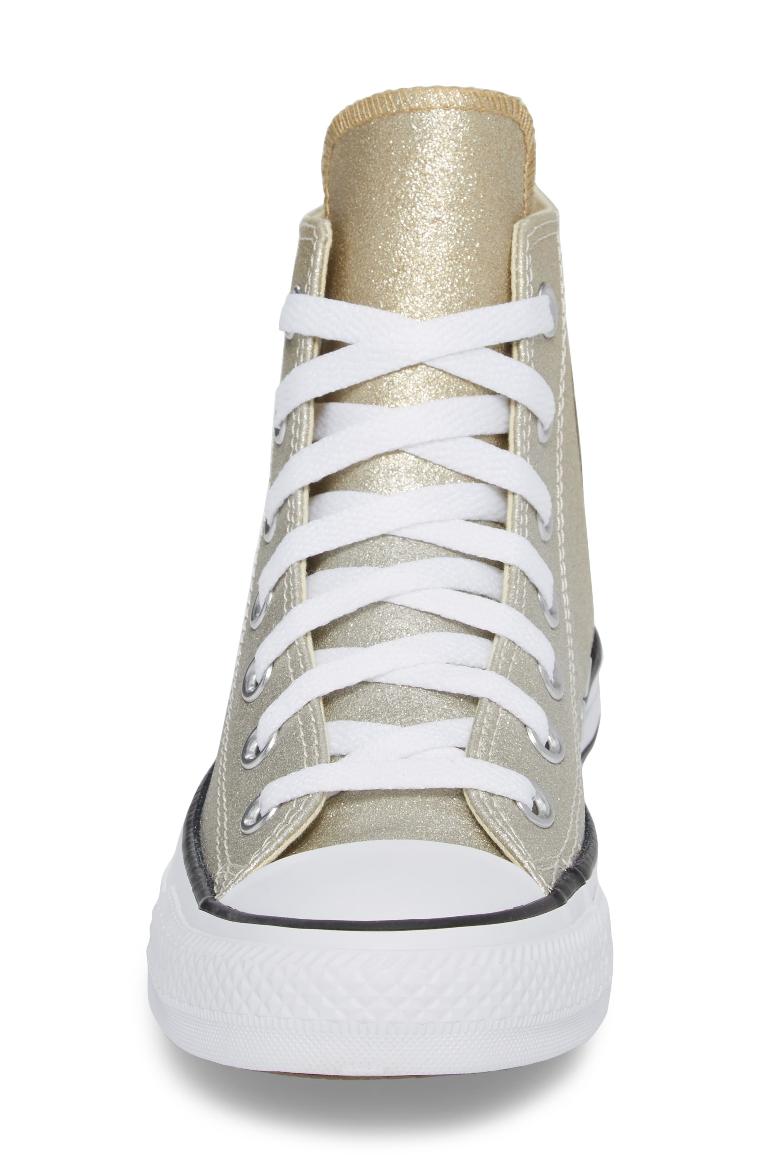 Chuck Taylor<sup>®</sup> All Star<sup>®</sup> Ombré Metallic High Top Sneaker,                             Alternate thumbnail 4, color,                             Light Gold