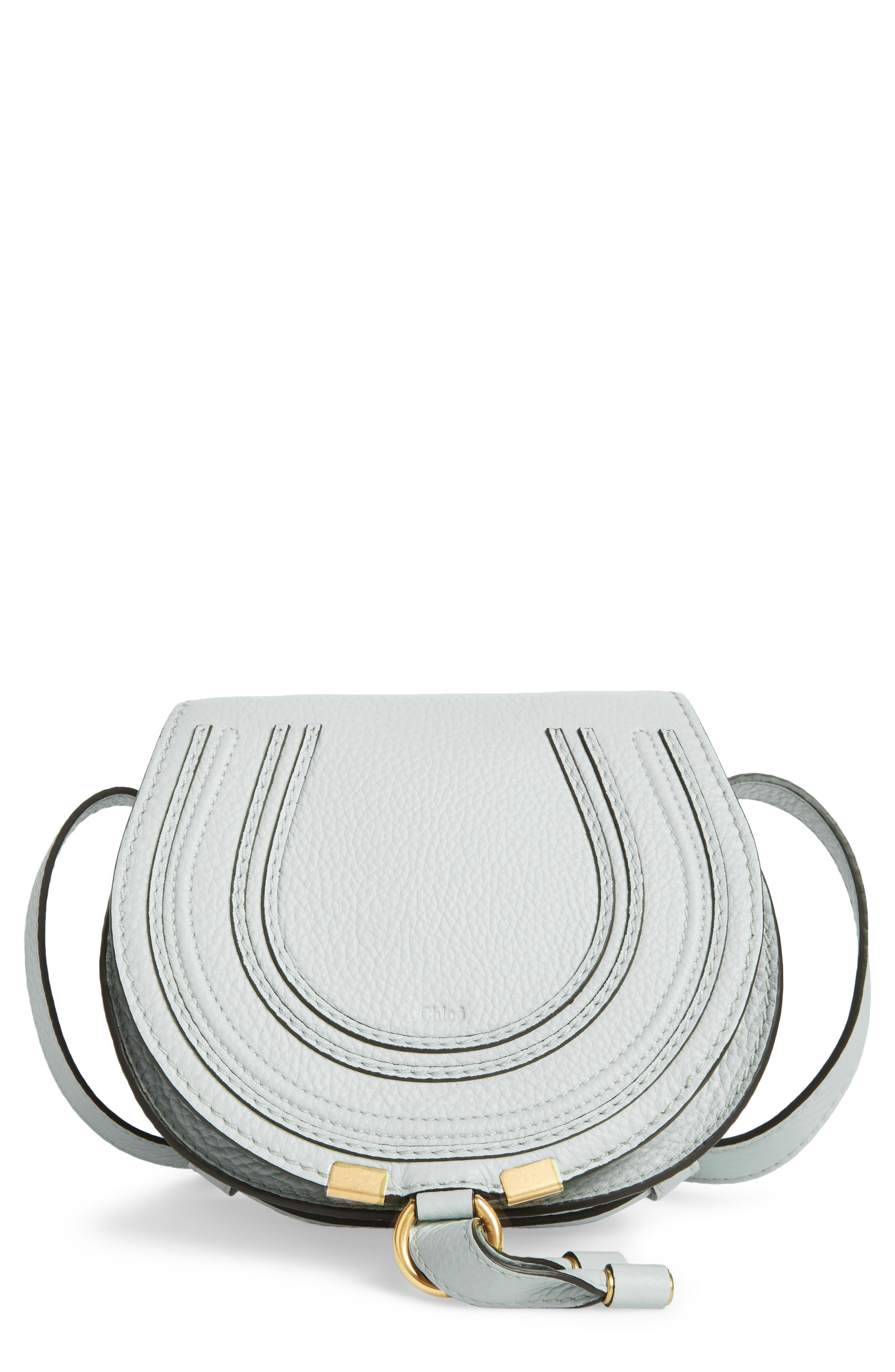 'Mini Marcie' Leather Crossbody Bag,                             Main thumbnail 1, color,                             Airy Grey