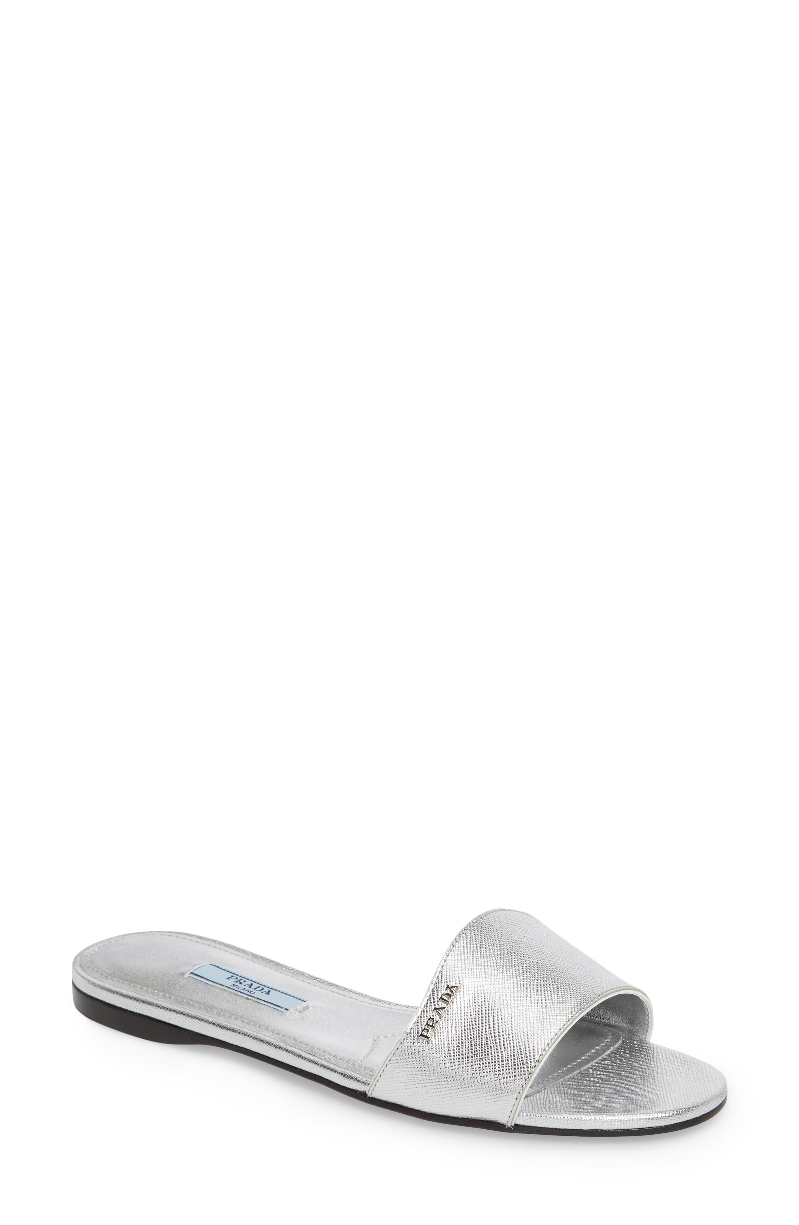 Slide Sandal,                             Main thumbnail 1, color,                             Silver