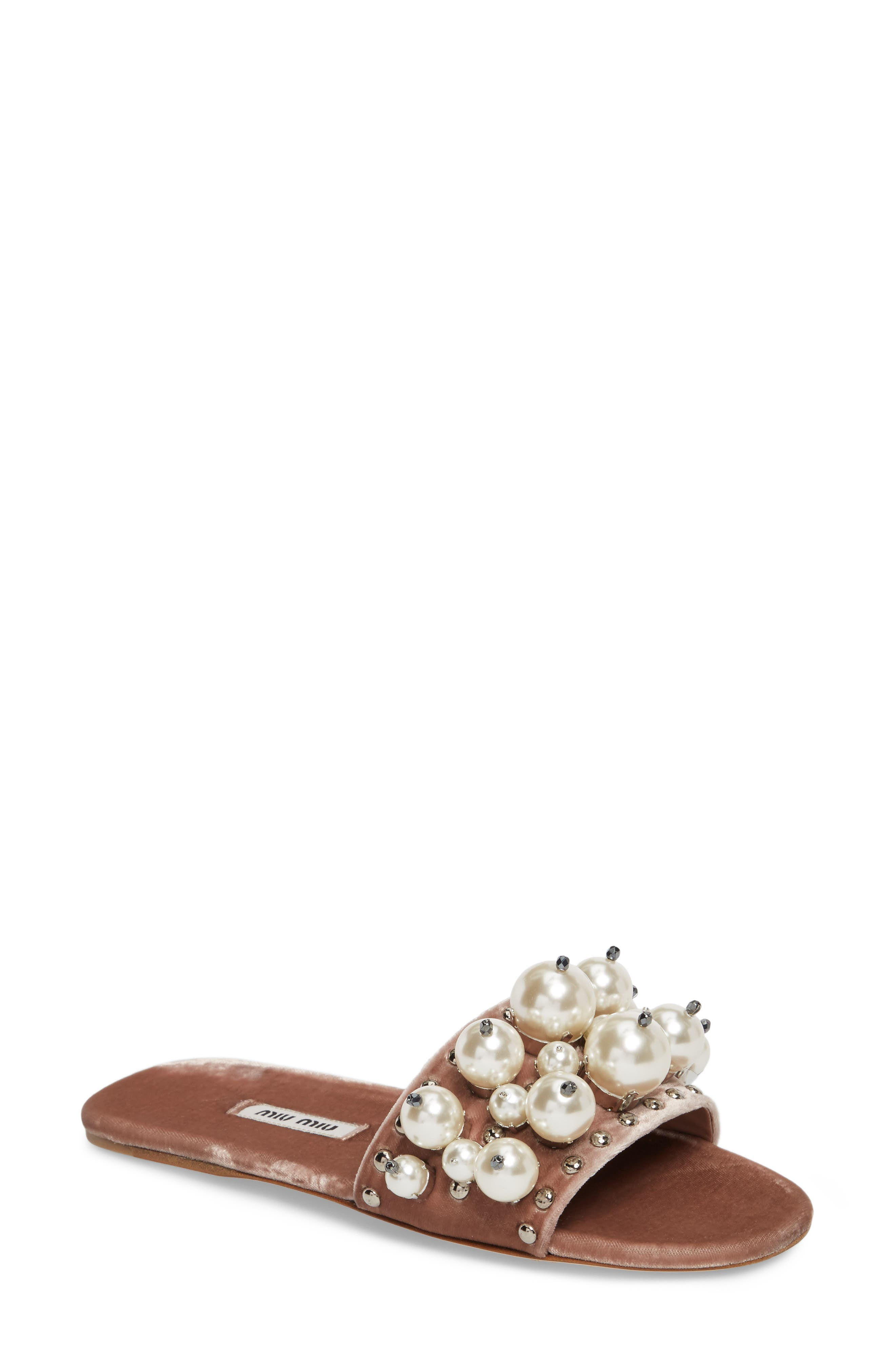 Miu Miu Imitation Pearl Embellished Slide Sandal (Women)
