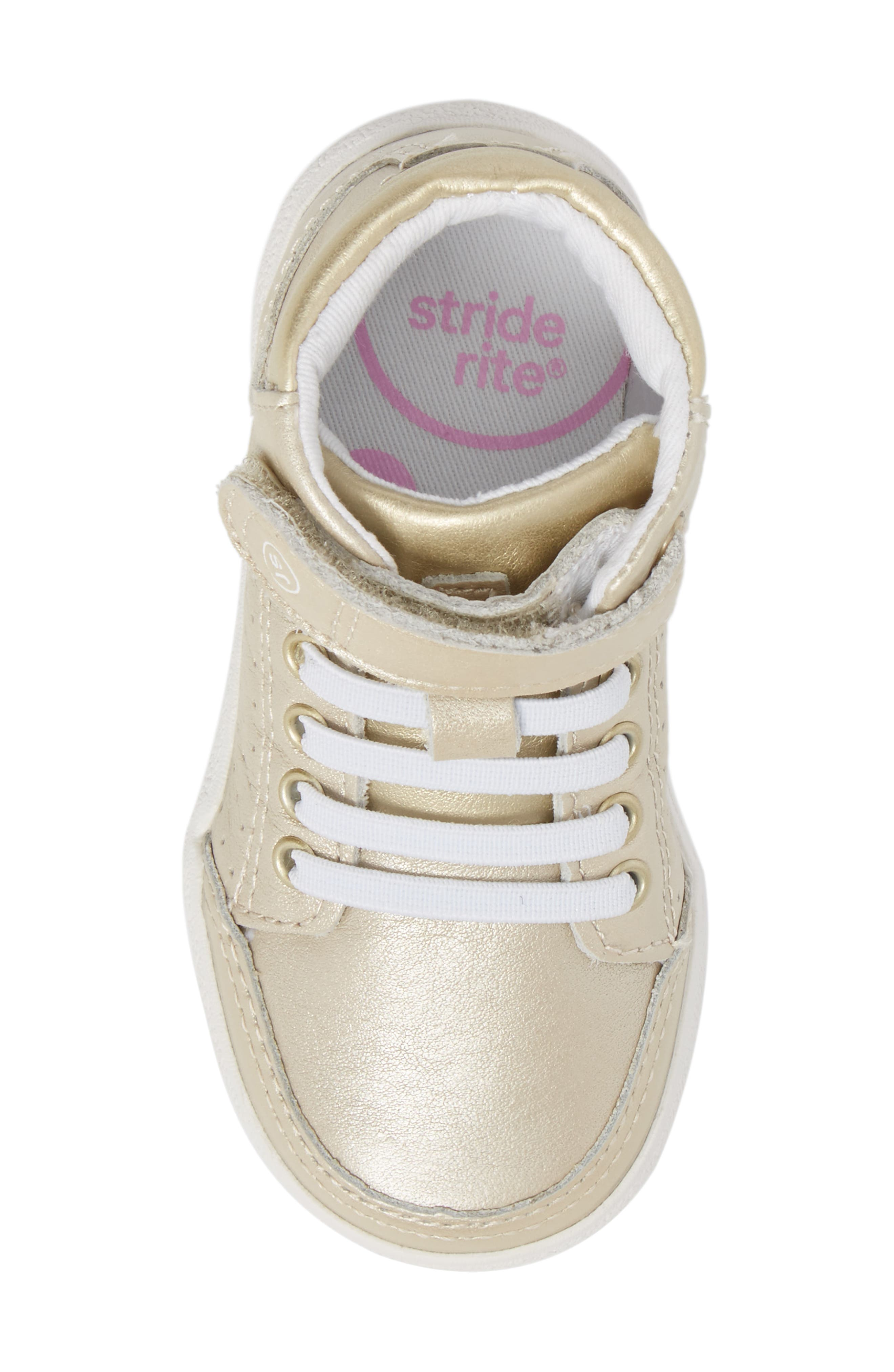 Stone High Top Sneaker,                             Alternate thumbnail 5, color,                             Champagne Leather