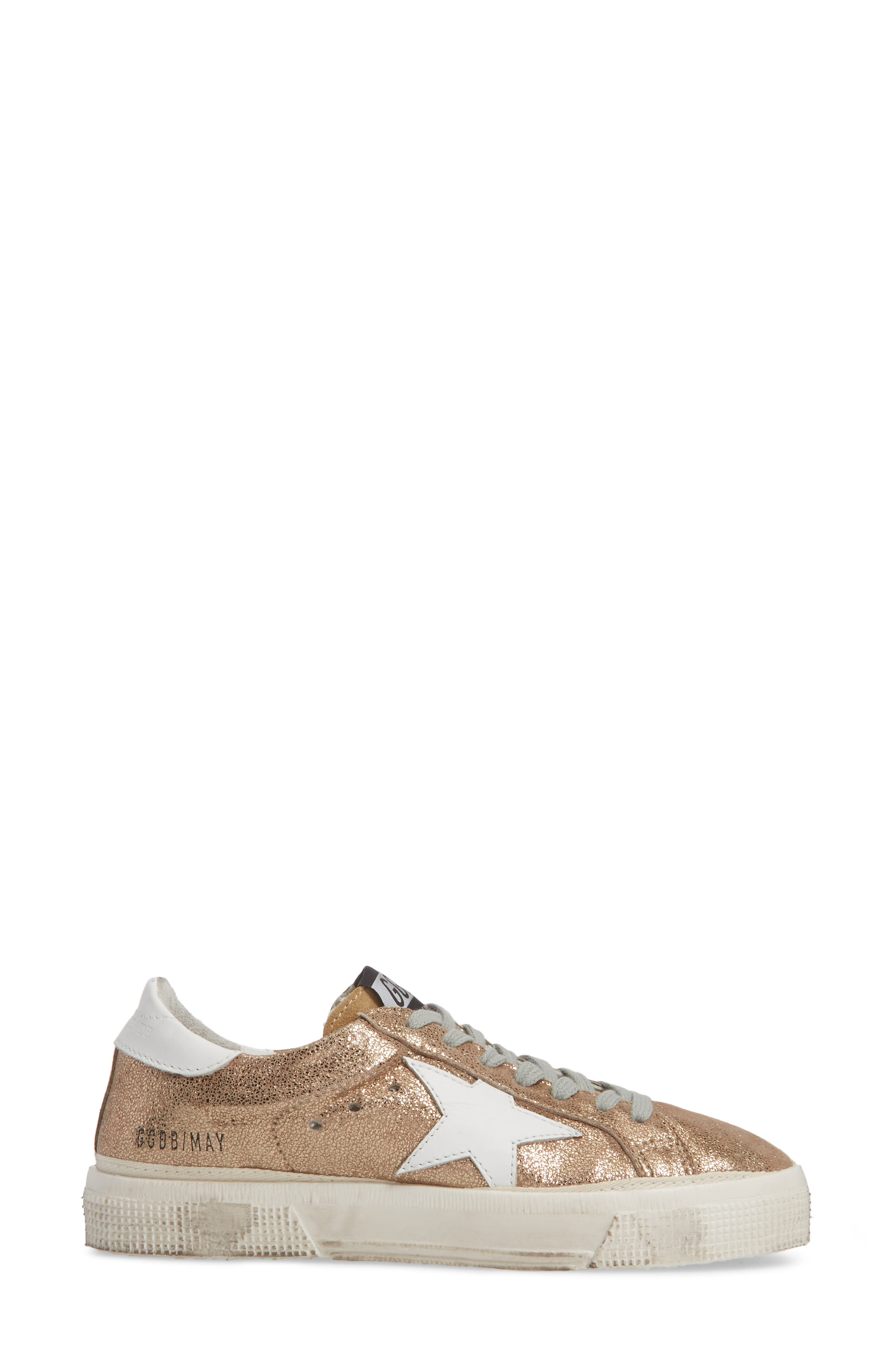 May Metallic Low Top Sneaker,                             Alternate thumbnail 3, color,                             Gold/ White