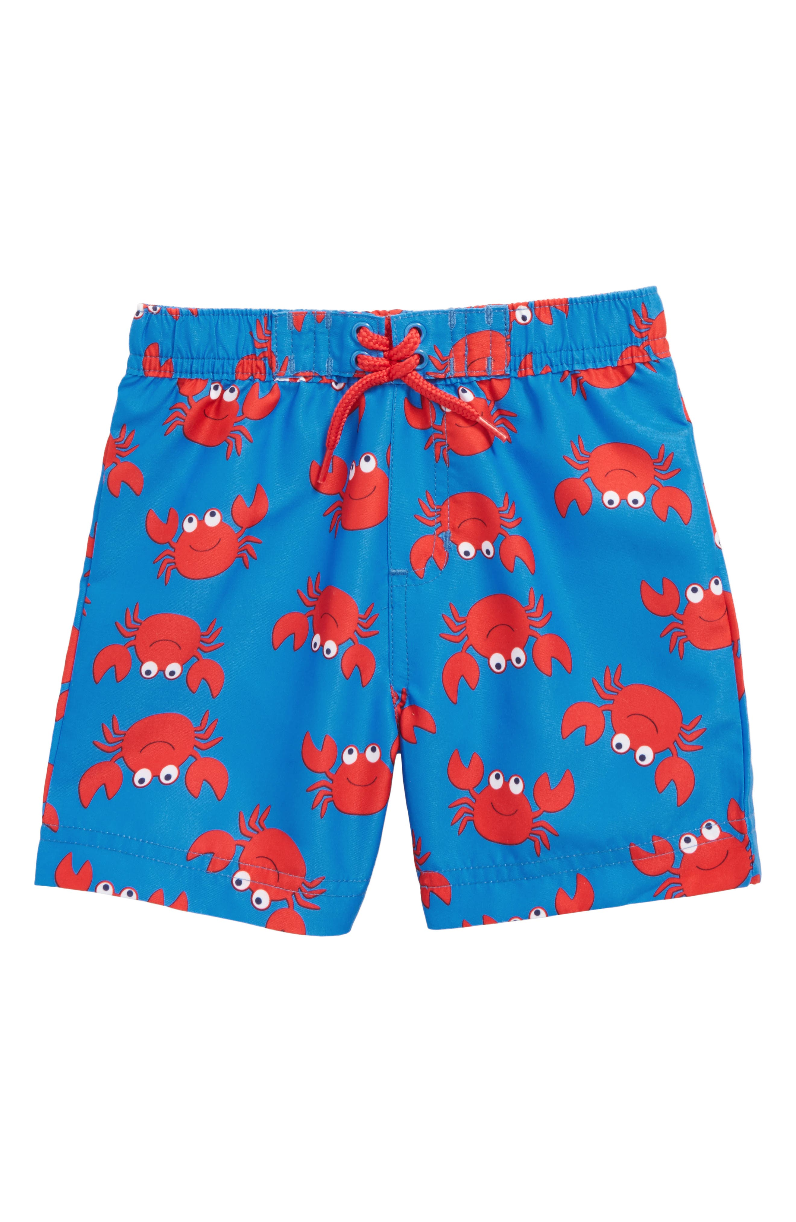 Crab UPF 50+ Swim Trunks,                         Main,                         color, Blue