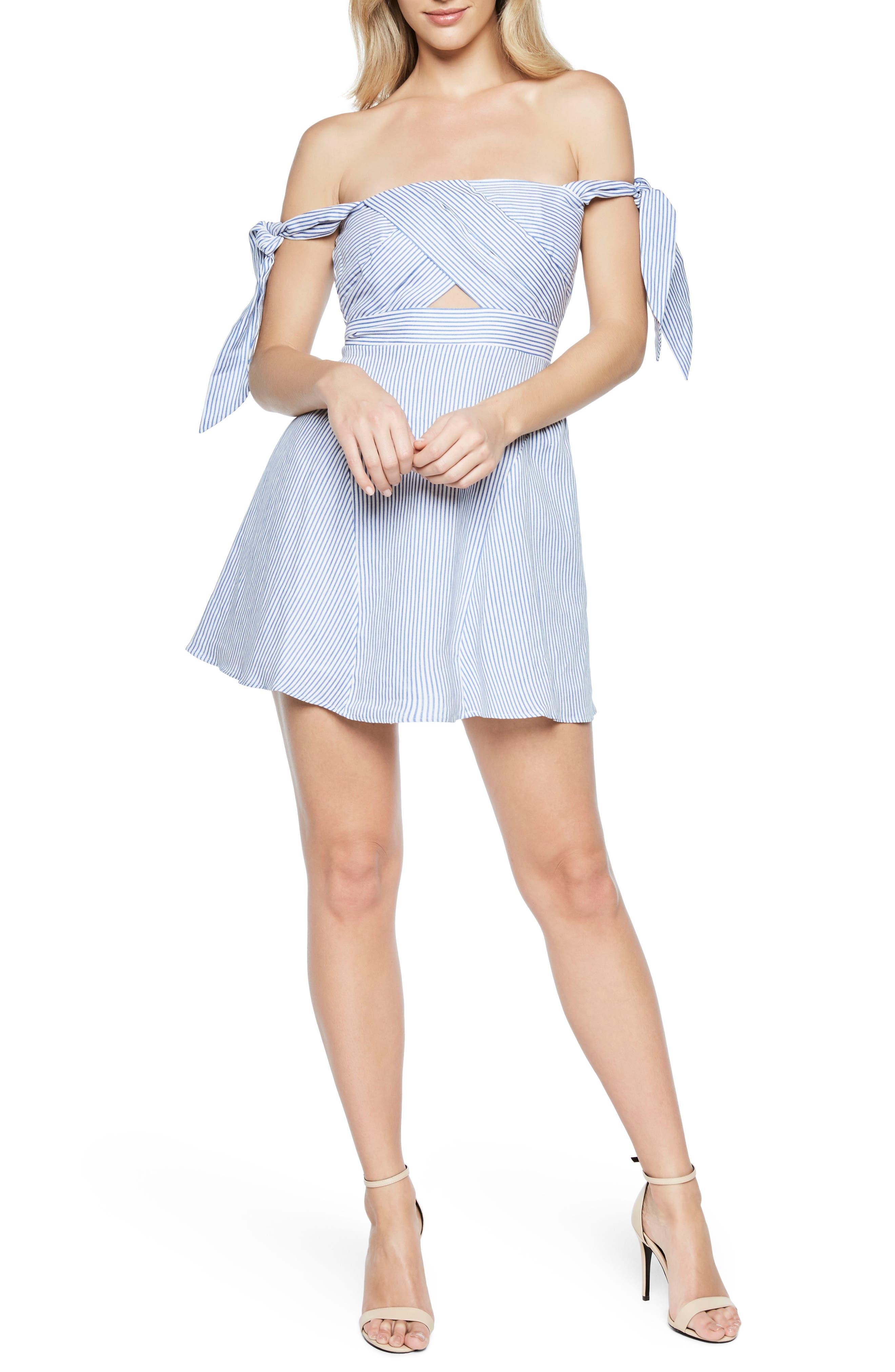 Stripe Off the Shoulder Linen Dress,                             Main thumbnail 1, color,                             Stripe