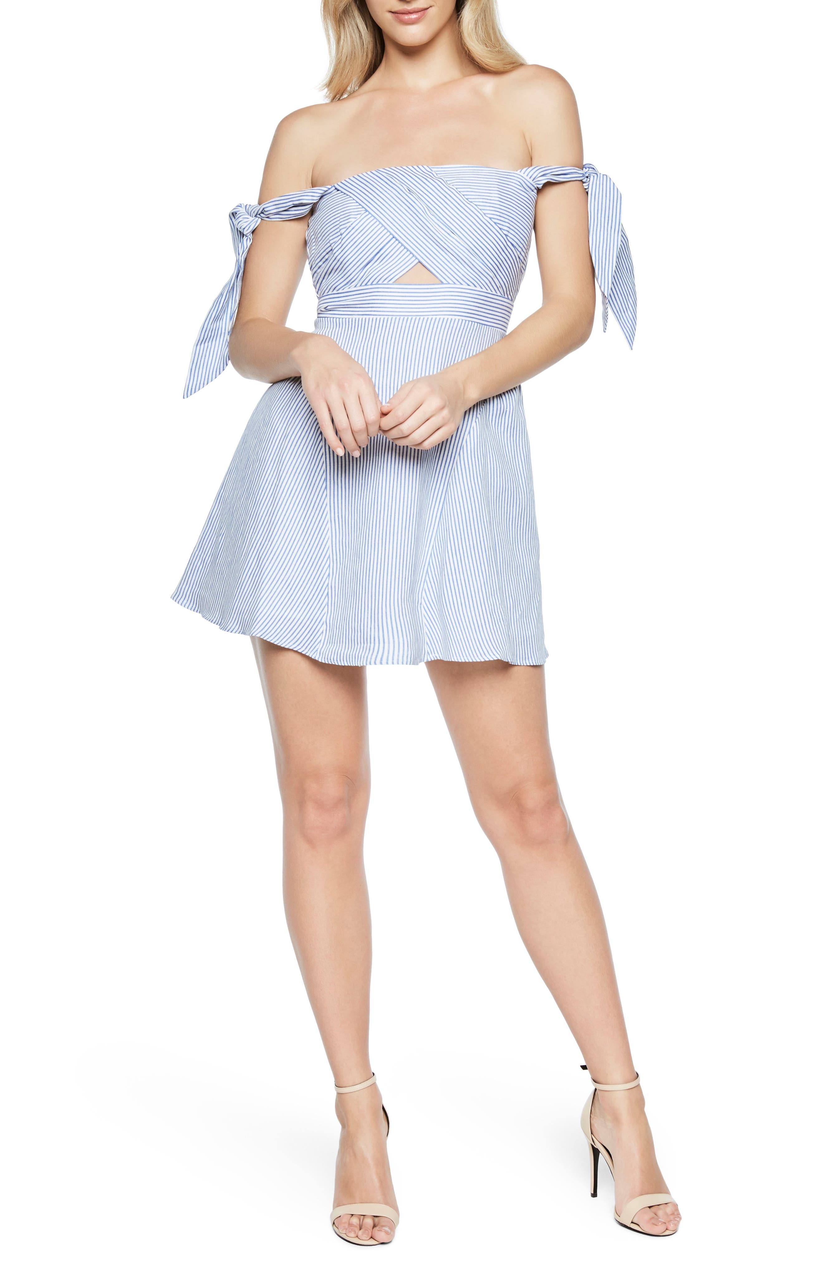 Stripe Off the Shoulder Linen Dress,                         Main,                         color, Stripe