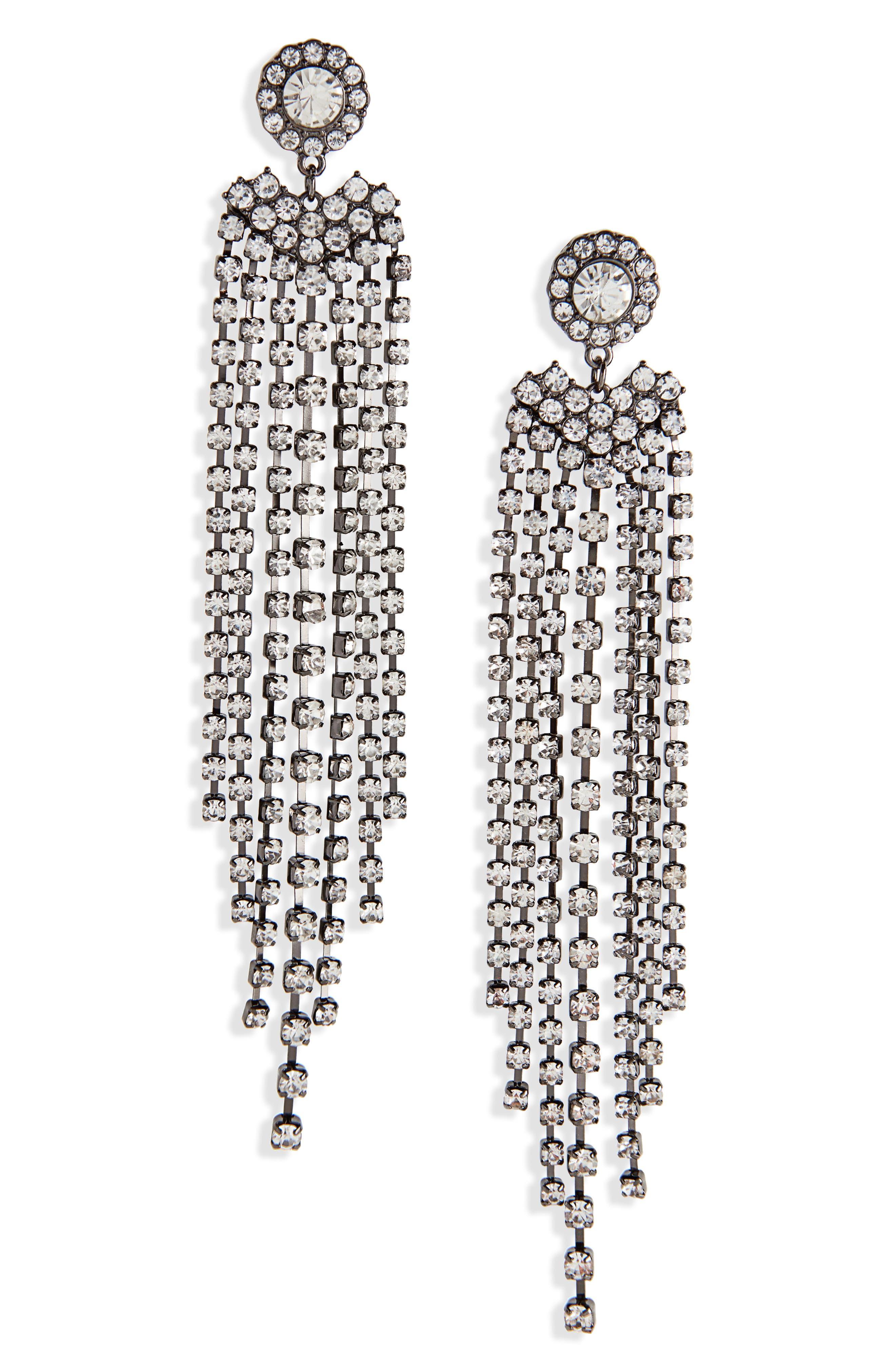 Crystal Fringe Drop Earrings,                             Main thumbnail 1, color,                             Hem/ Crystal