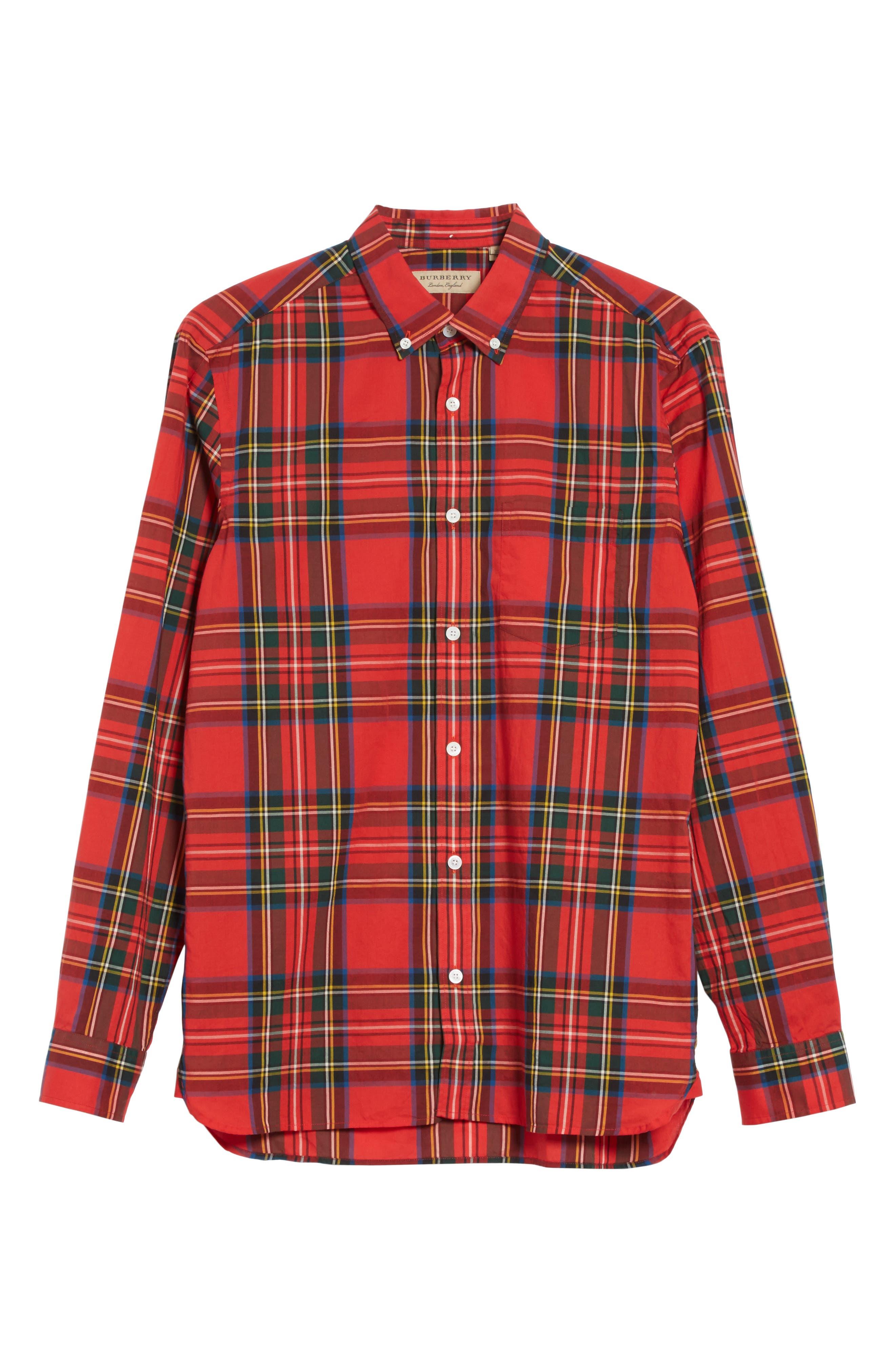 Salwick Plaid Sport Shirt,                             Alternate thumbnail 6, color,                             Bright Red