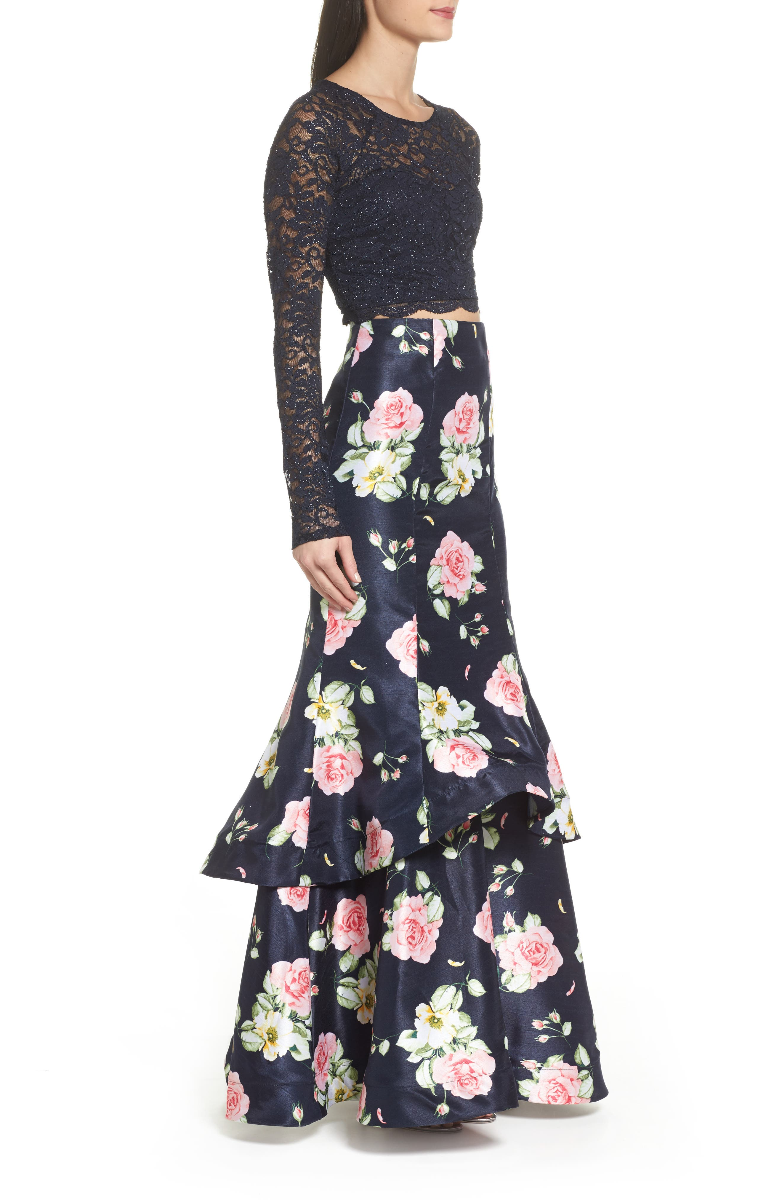 Floral & Lace Two-Piece Gown,                             Alternate thumbnail 3, color,                             Navy/ Rose