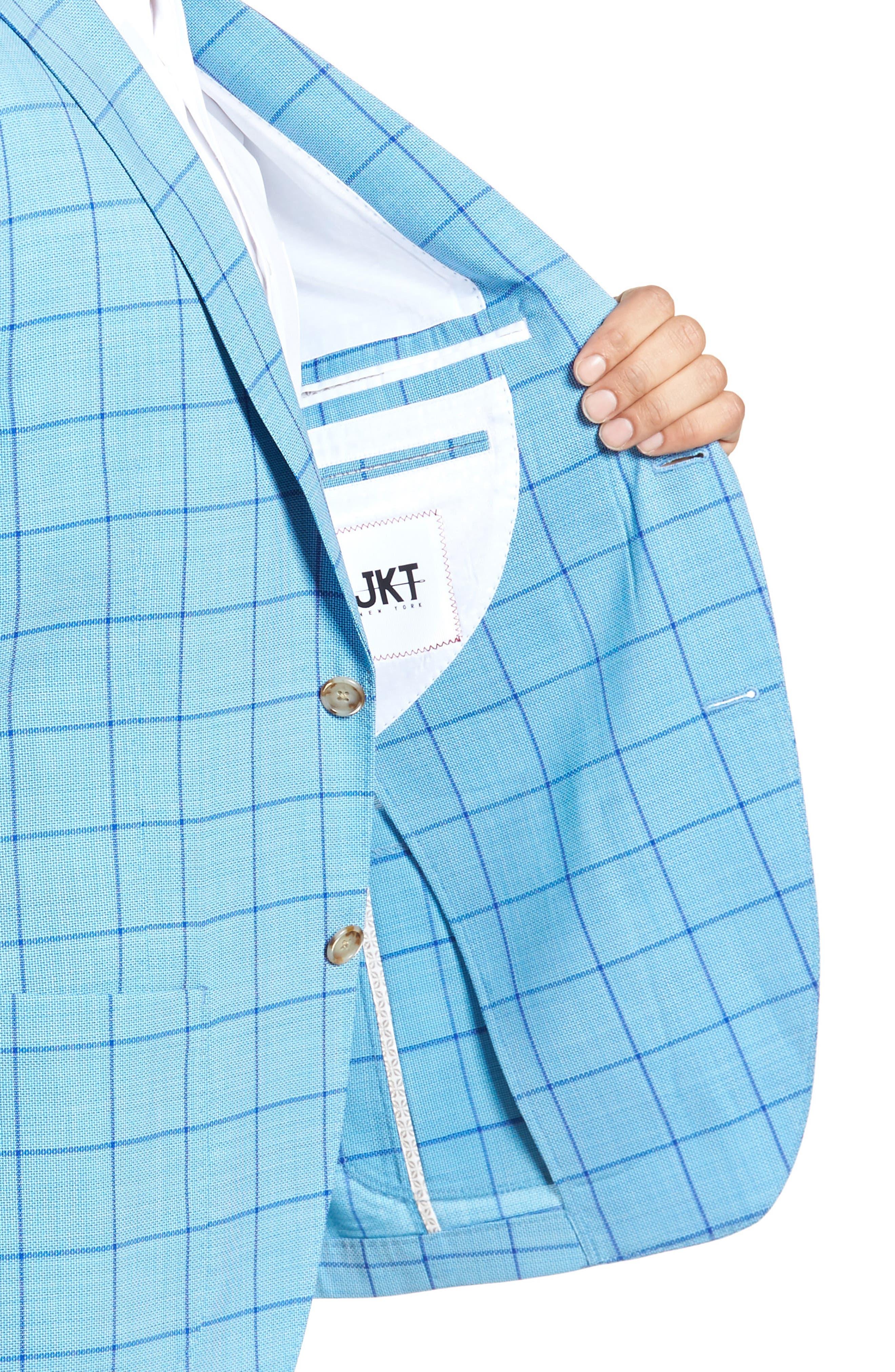 Trent Trim Fit Windowpane Wool Sport Coat,                             Alternate thumbnail 4, color,                             Blue