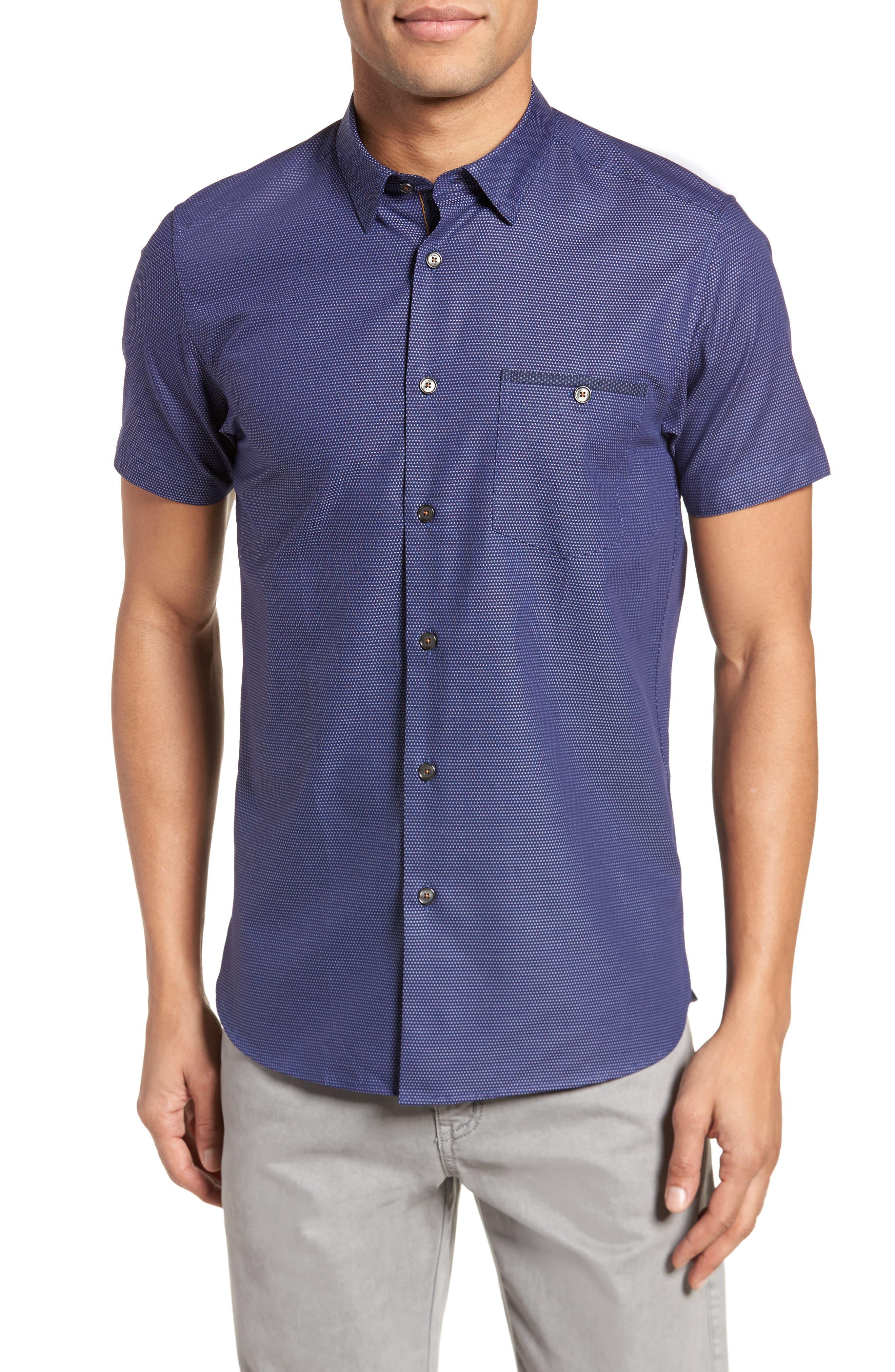 Dotdots Trim Fit Dot Short Sleeve Sport Shirt,                             Main thumbnail 1, color,                             Navy