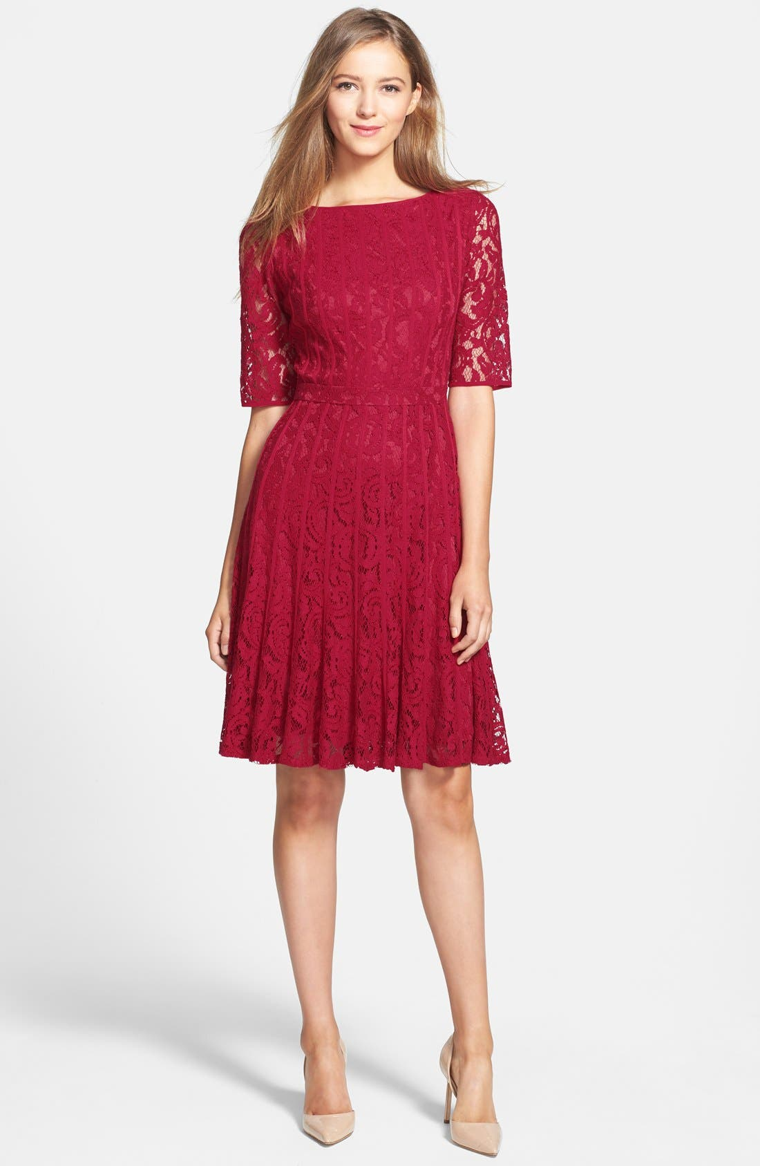 Alternate Image 3  - Adrianna Papell Lace Fit & Flare Dress (Petite)
