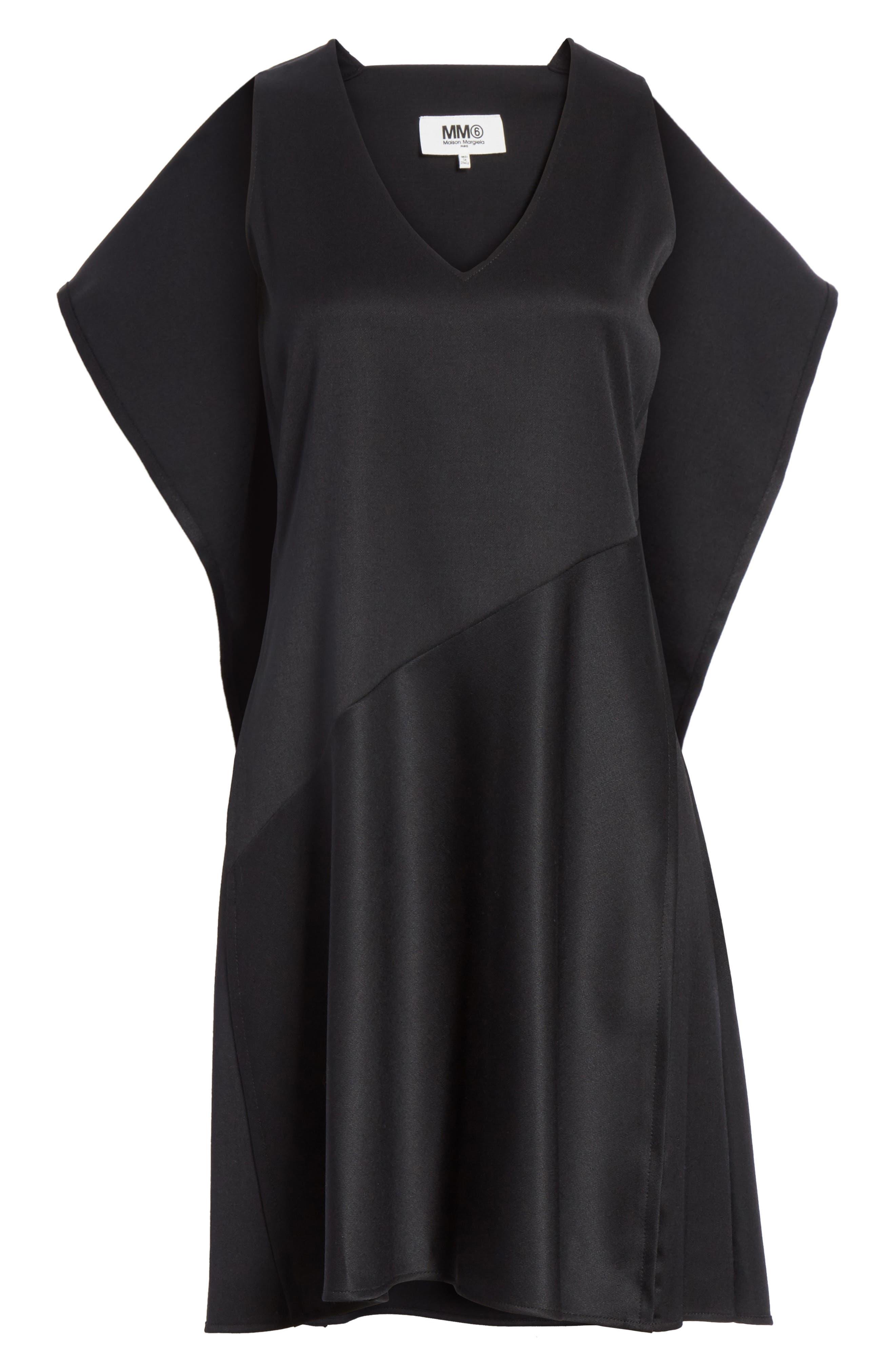 Ruffle Back Twill Dress,                             Alternate thumbnail 6, color,                             Black