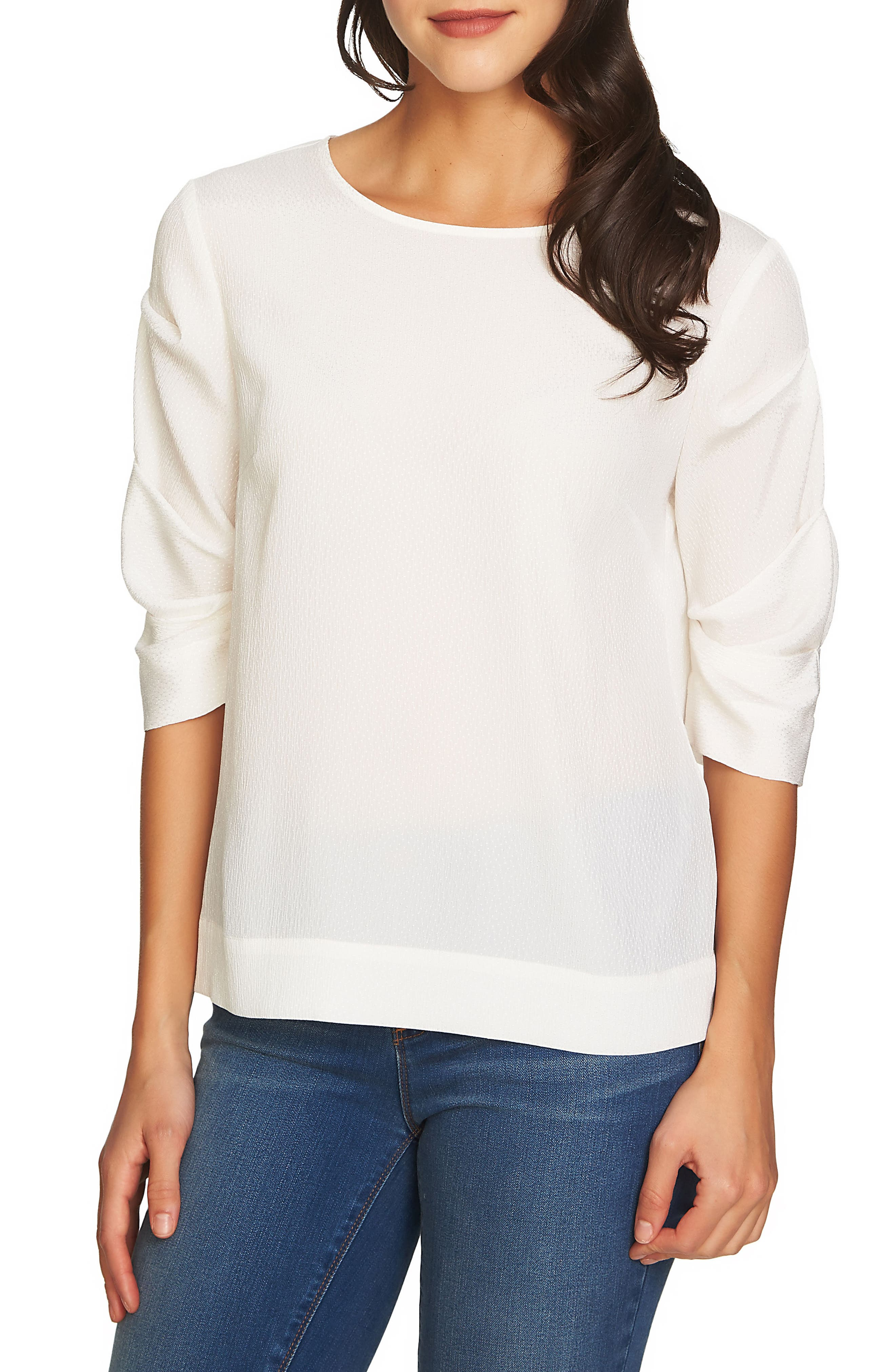 Ruched Sleeve Blouse,                         Main,                         color, New Ivory