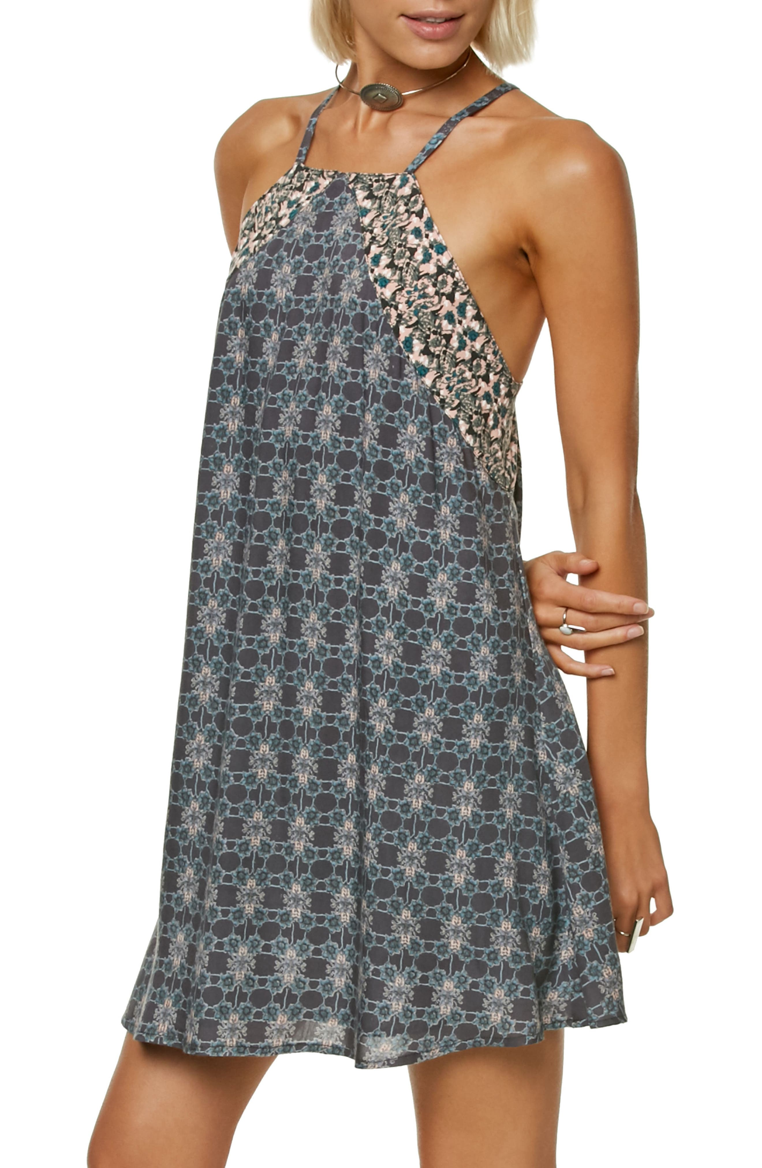 Shawna Square Neck Trapeze Dress,                             Main thumbnail 1, color,                             Asphalt