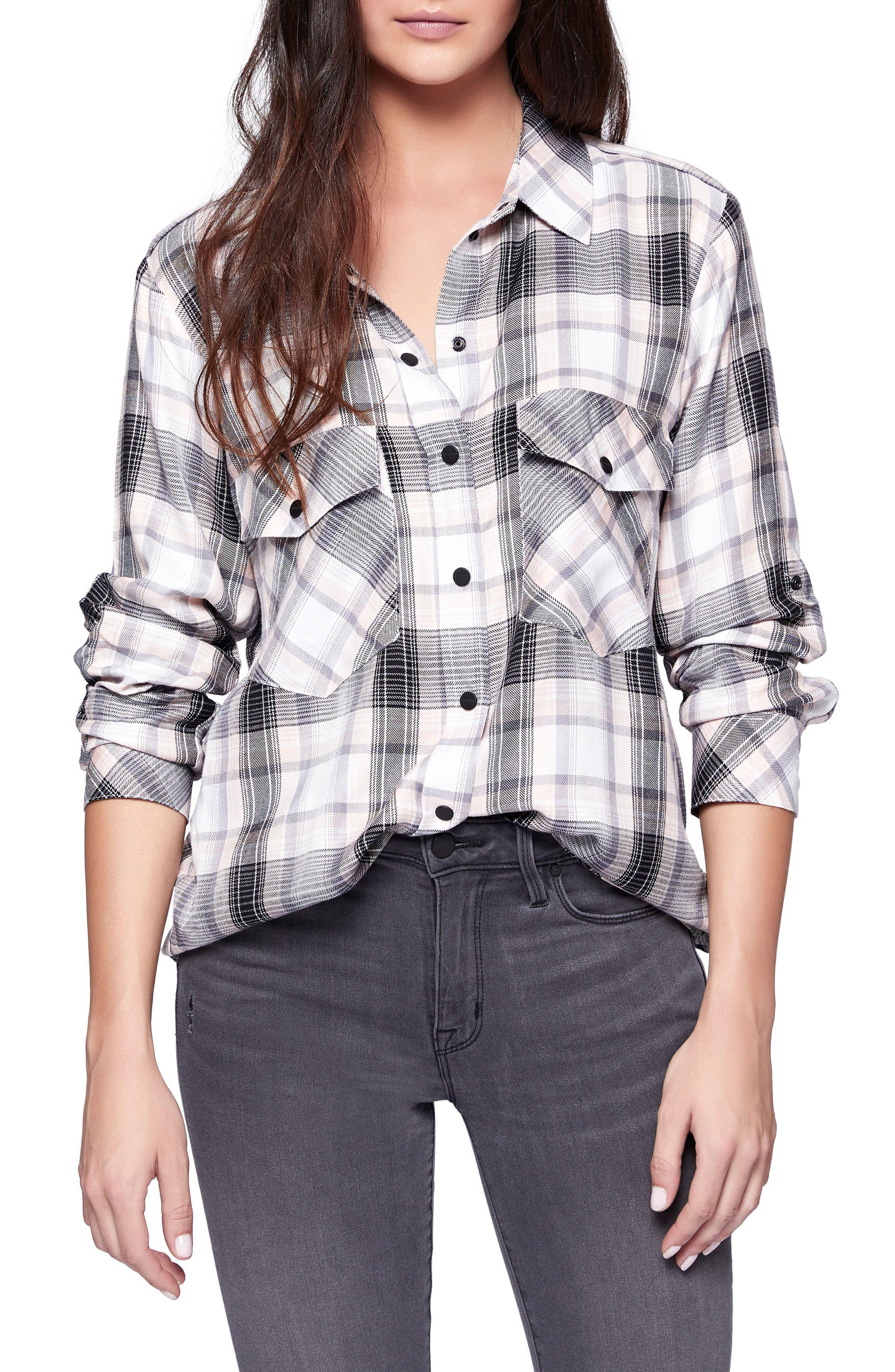 Alternate Image 1 Selected - Sanctuary Plaid Boyfriend Shirt