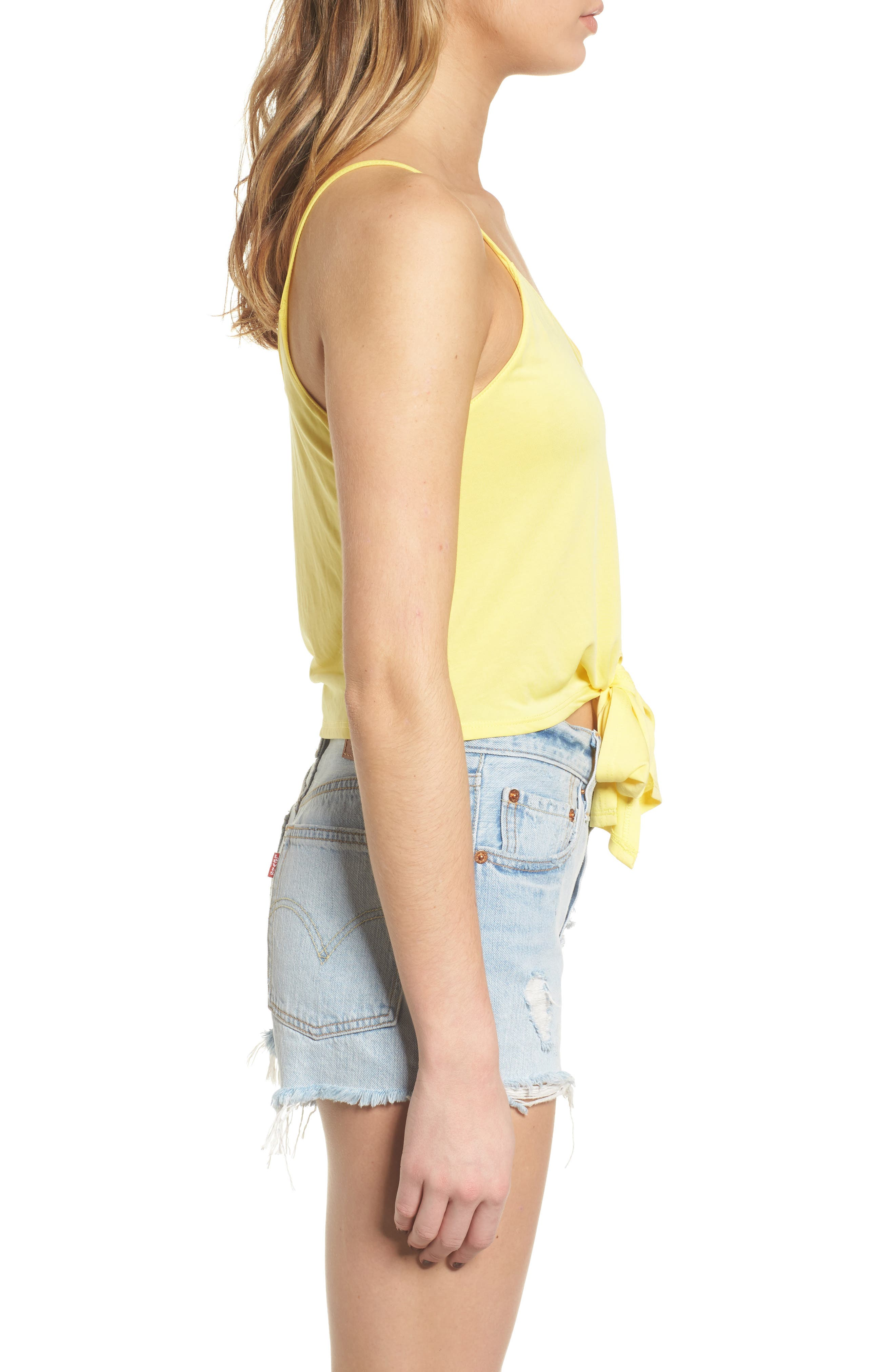 Tie Front Tank,                             Alternate thumbnail 3, color,                             Yellow