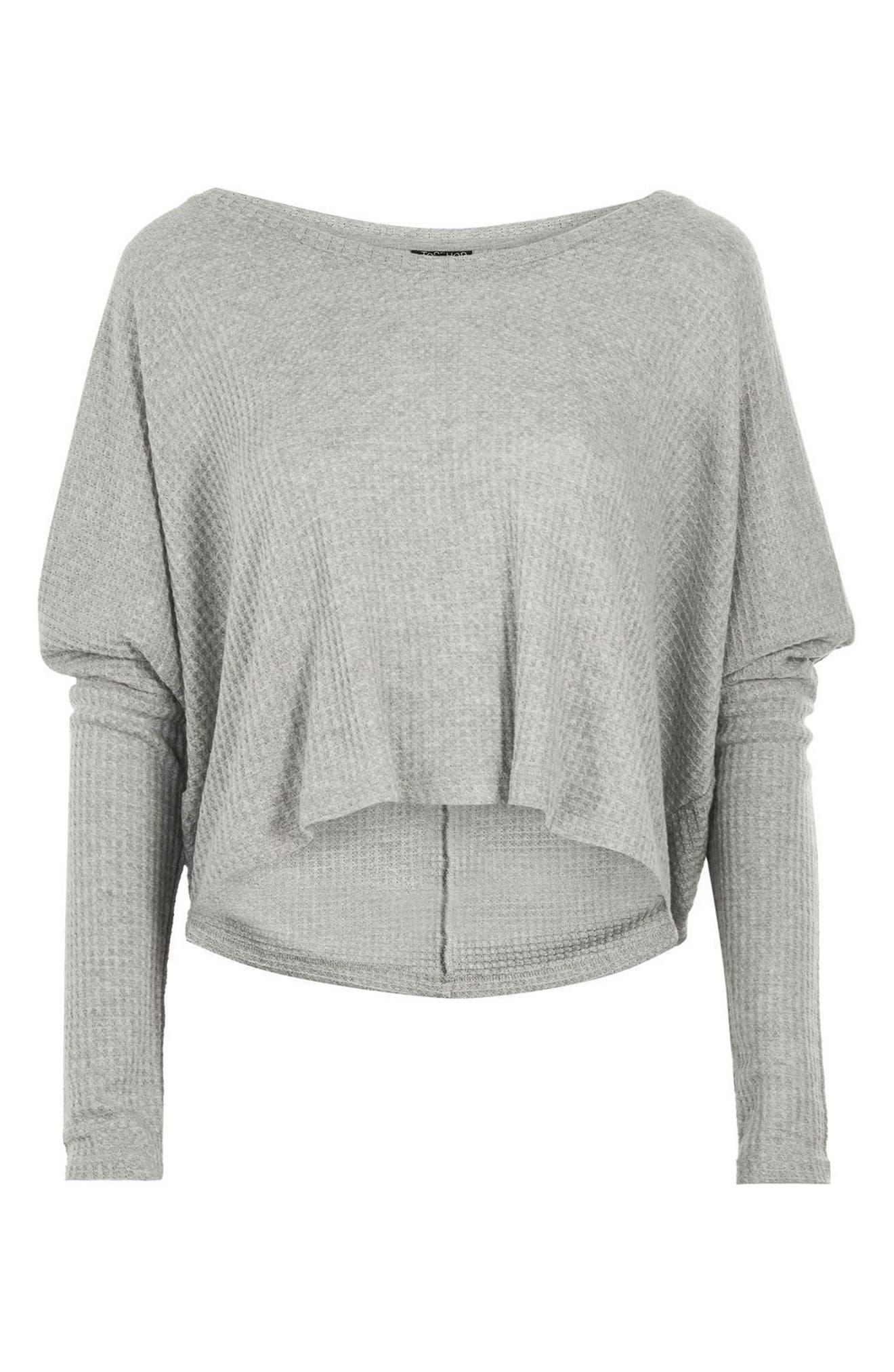 Waffle Knit Sweatshirt,                             Alternate thumbnail 3, color,                             Grey Marl