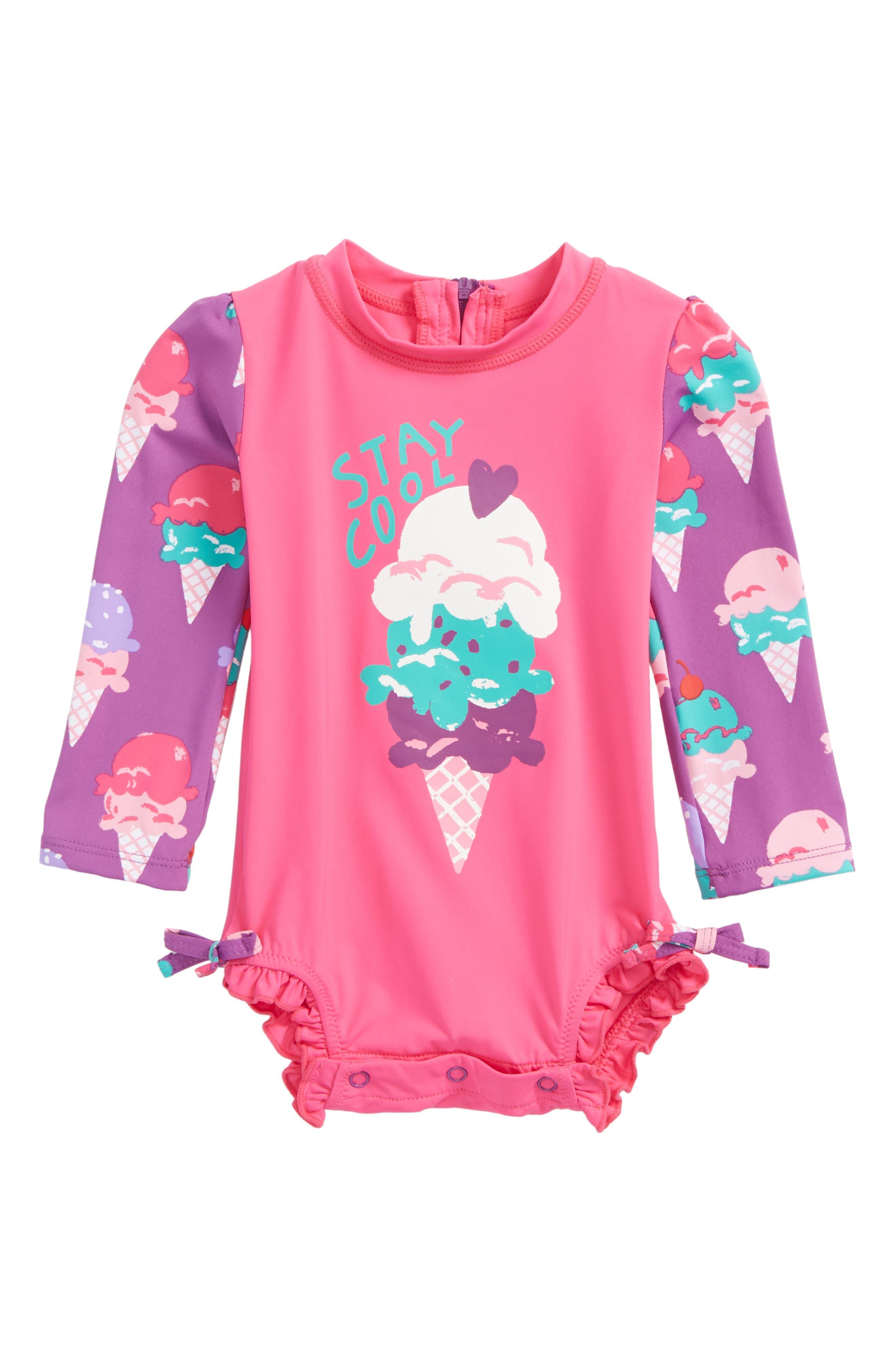 Ice Cream One-Piece Rashguard Swimsuit,                         Main,                         color, Ice Cream Treats